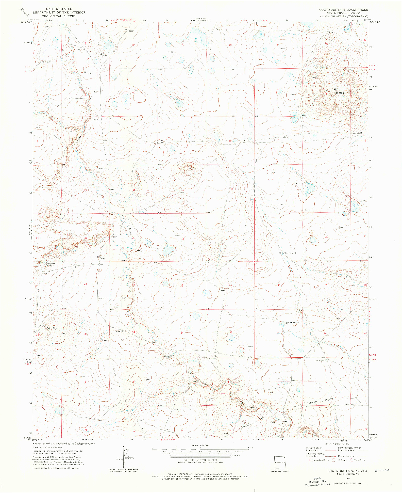 USGS 1:24000-SCALE QUADRANGLE FOR COW MOUNTAIN, NM 1972