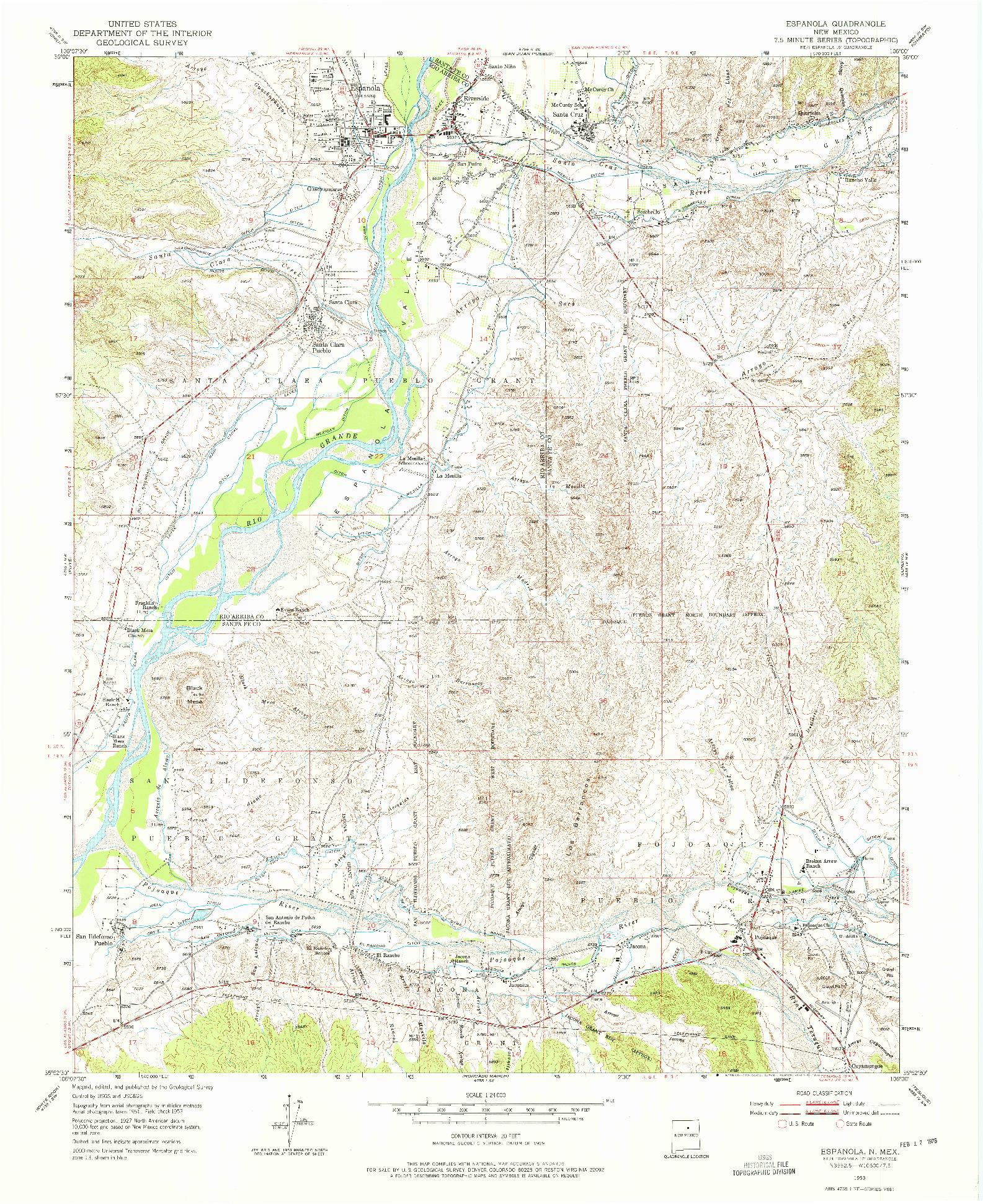 USGS 1:24000-SCALE QUADRANGLE FOR ESPANOLA, NM 1953