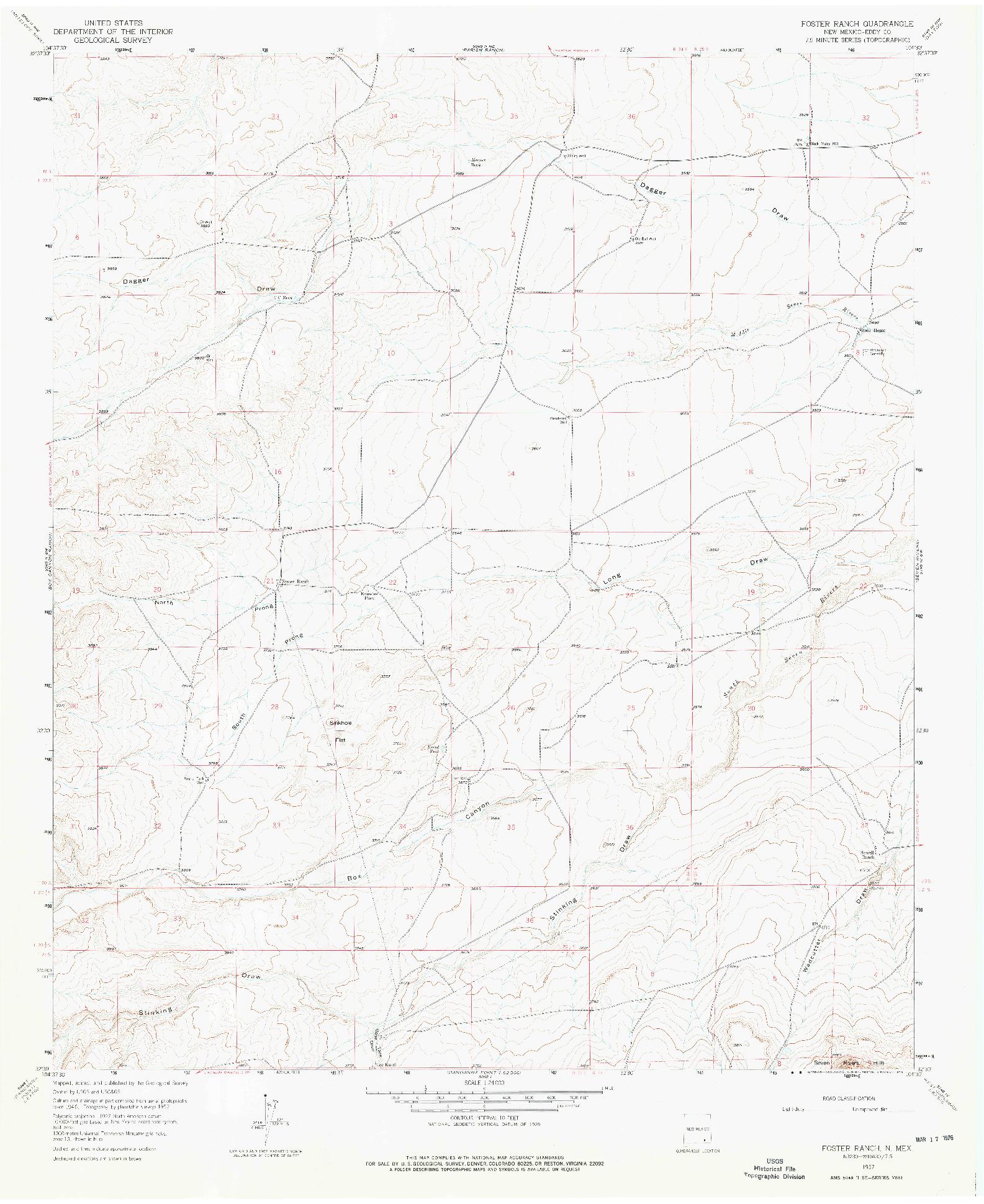 USGS 1:24000-SCALE QUADRANGLE FOR FOSTER RANCH, NM 1957