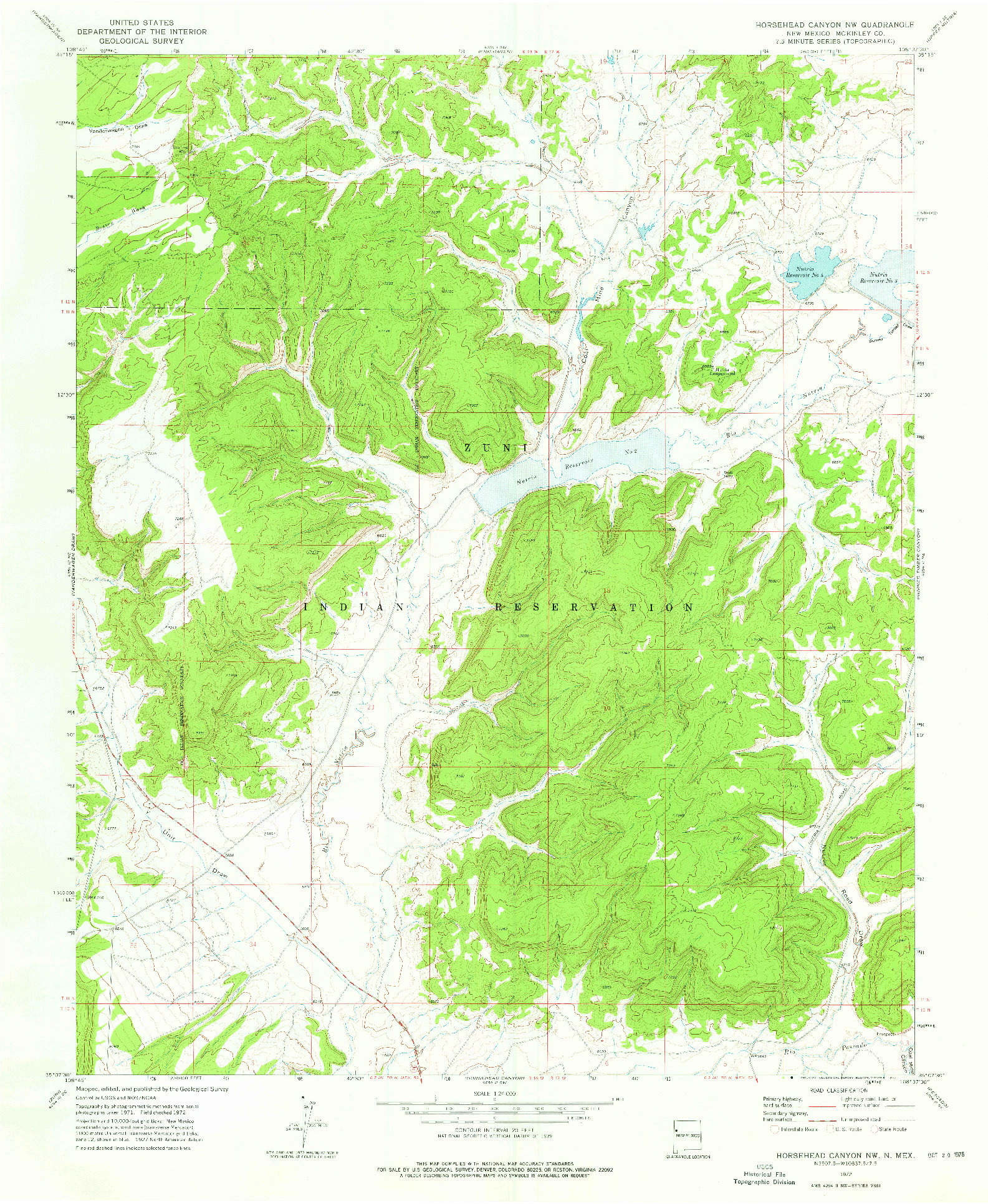 USGS 1:24000-SCALE QUADRANGLE FOR HORSEHEAD CANYON NW, NM 1972