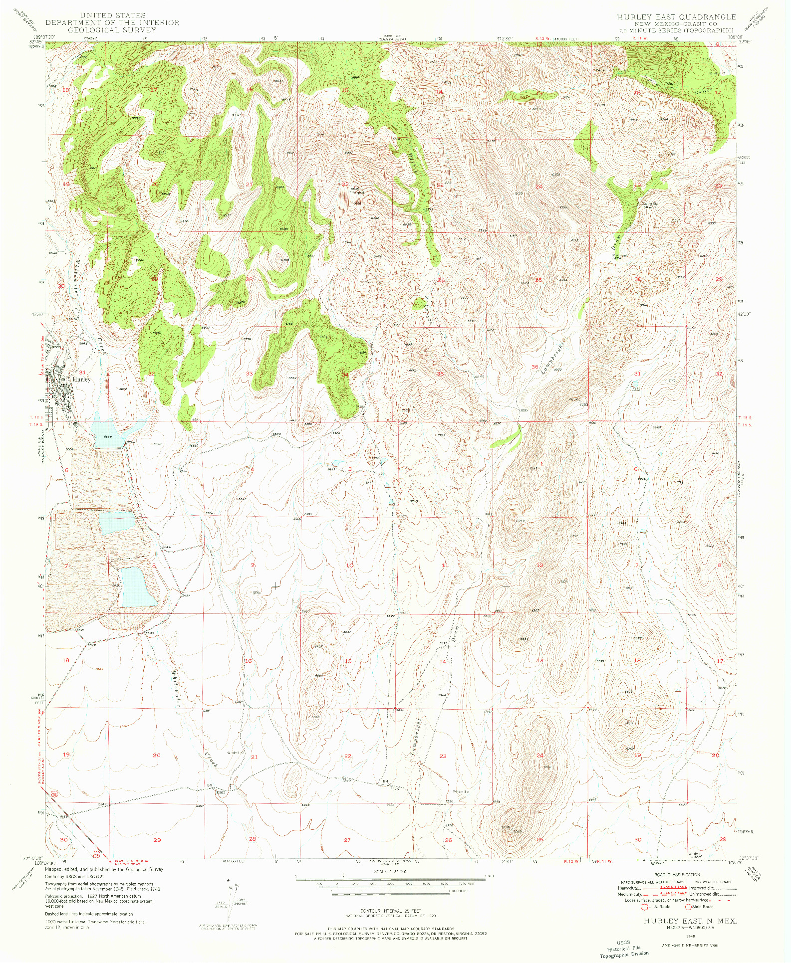 USGS 1:24000-SCALE QUADRANGLE FOR HURLEY EAST, NM 1948