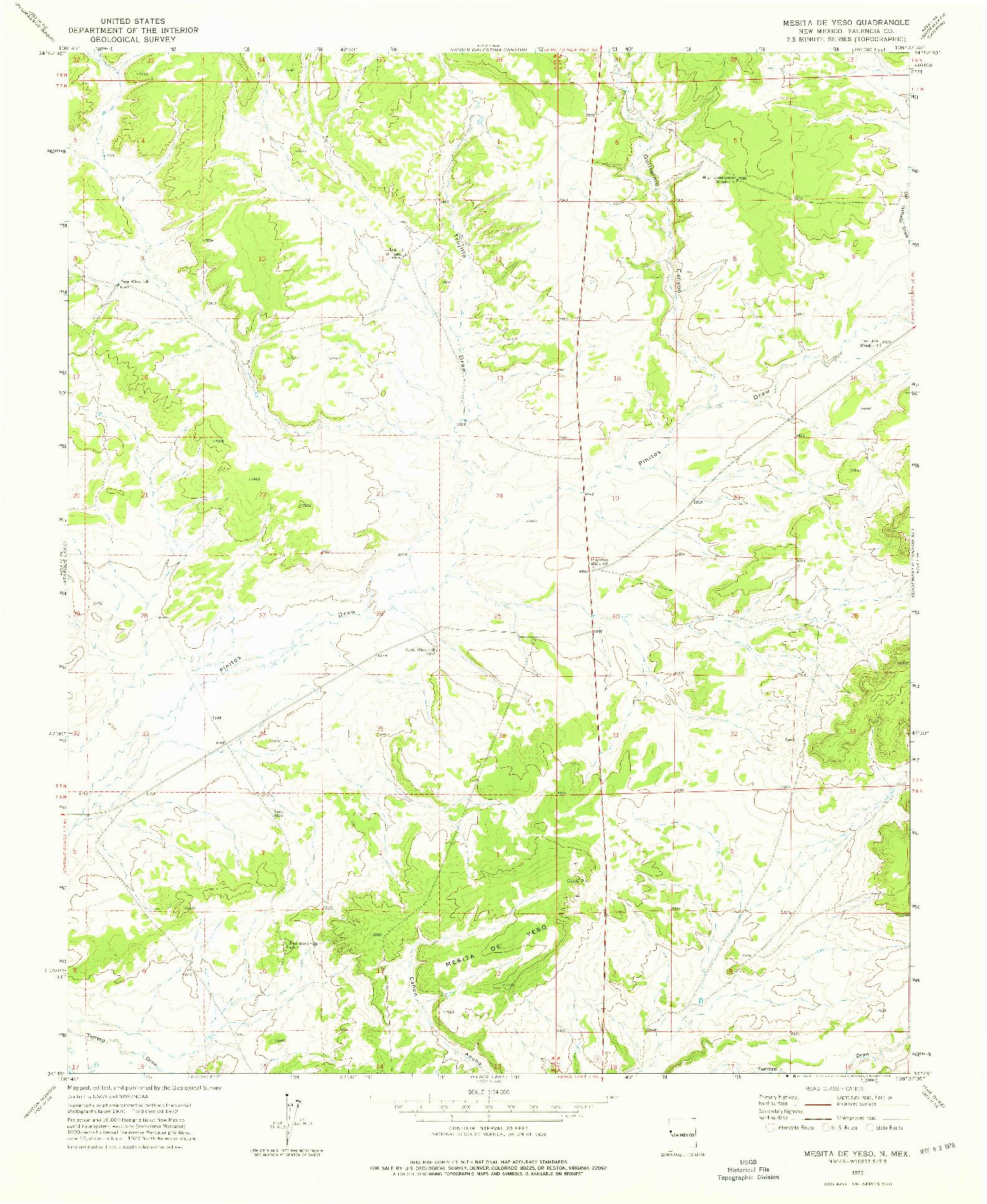 USGS 1:24000-SCALE QUADRANGLE FOR MESITA DE YESO, NM 1972