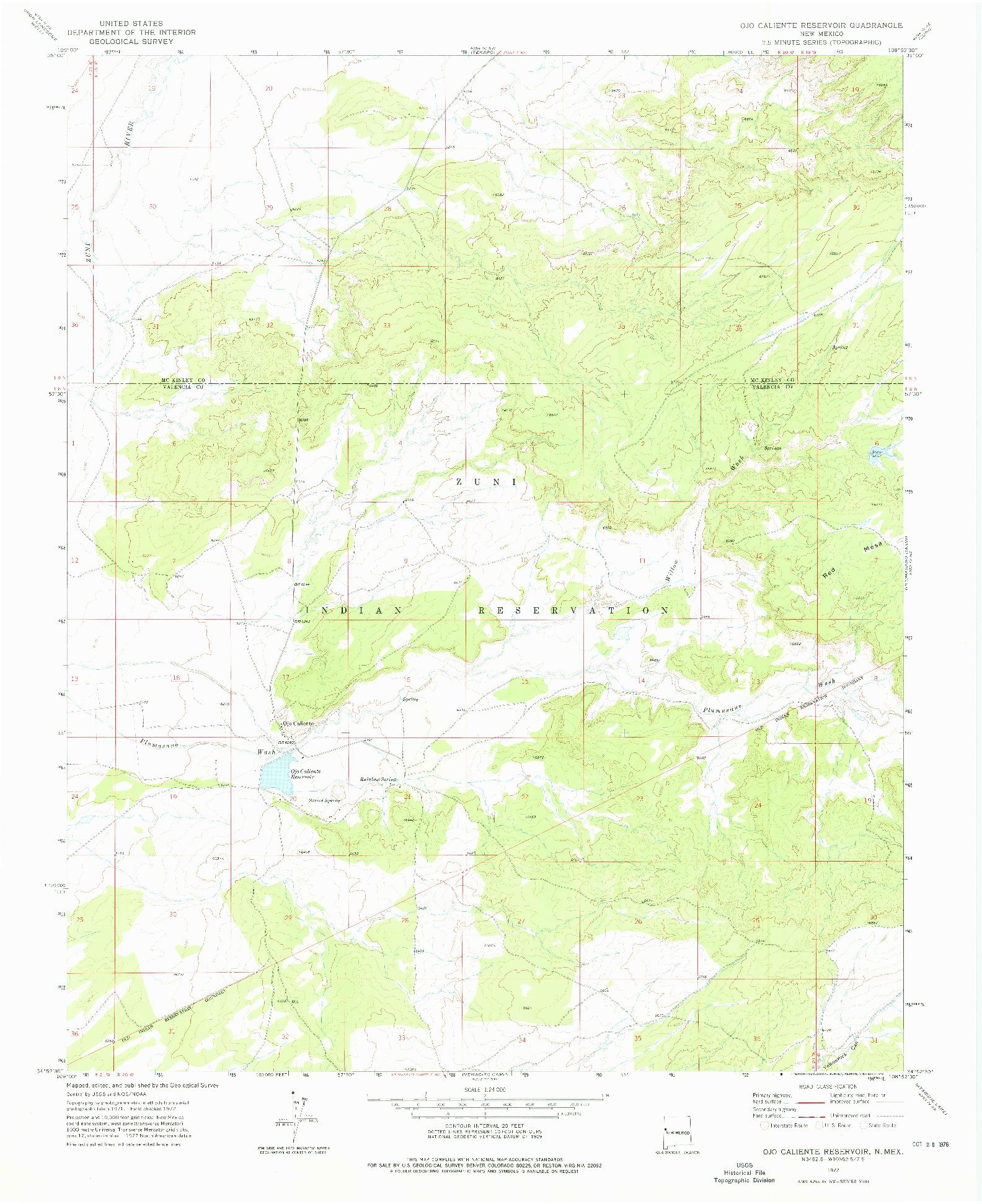 USGS 1:24000-SCALE QUADRANGLE FOR OJO CALIENTE RESERVOIR, NM 1972