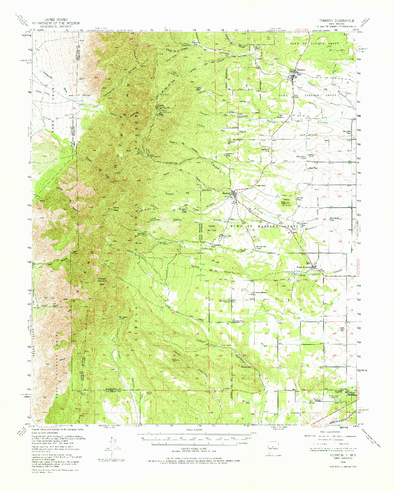 USGS 1:62500-SCALE QUADRANGLE FOR TORREON, NM 1954