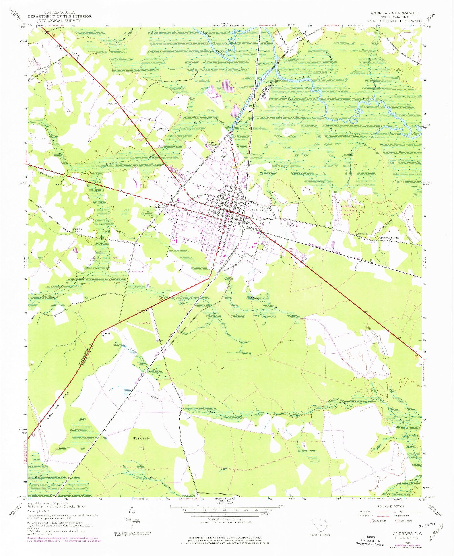 USGS 1:24000-SCALE QUADRANGLE FOR ANDREWS, SC 1943