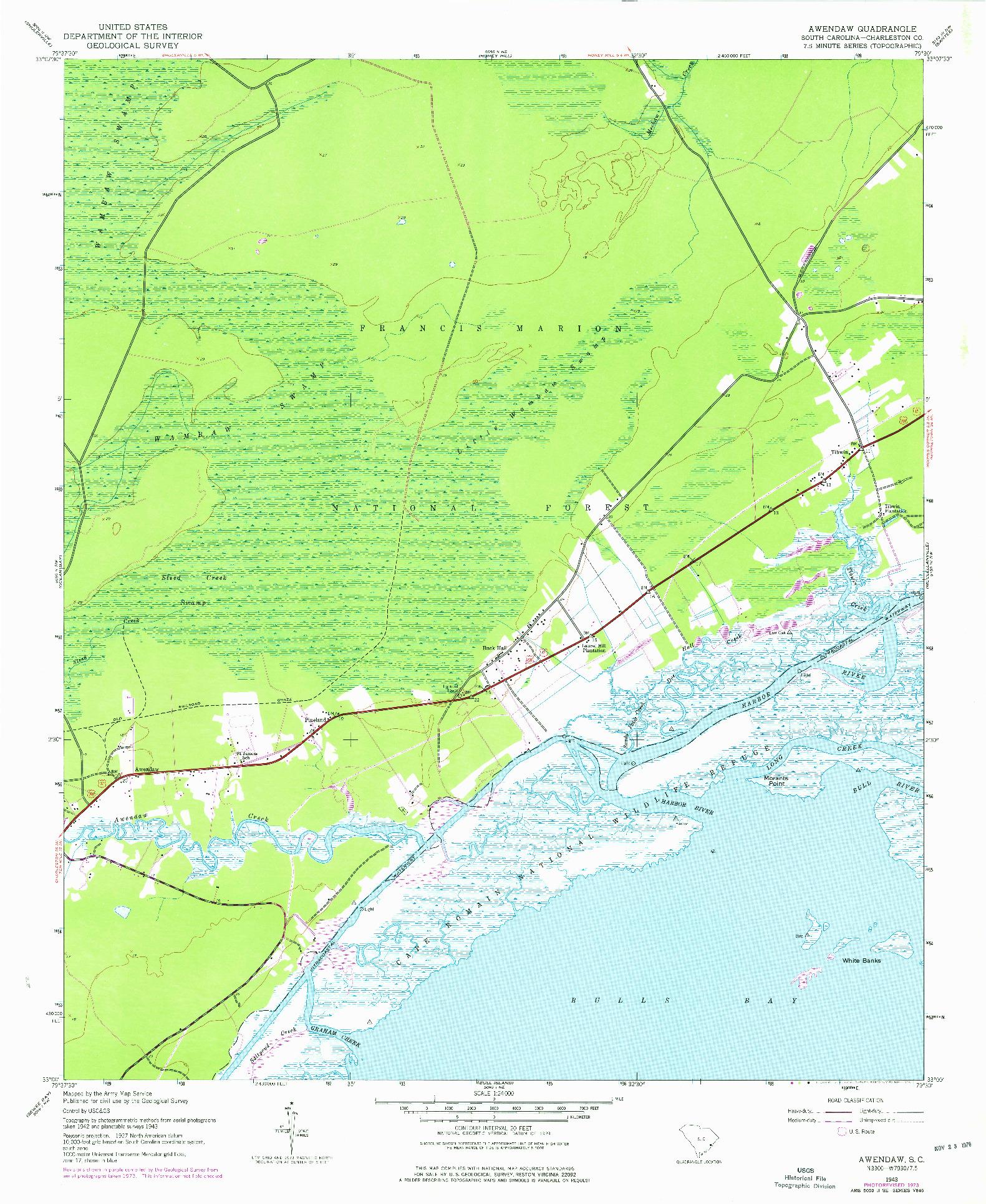USGS 1:24000-SCALE QUADRANGLE FOR AWENDAW, SC 1943