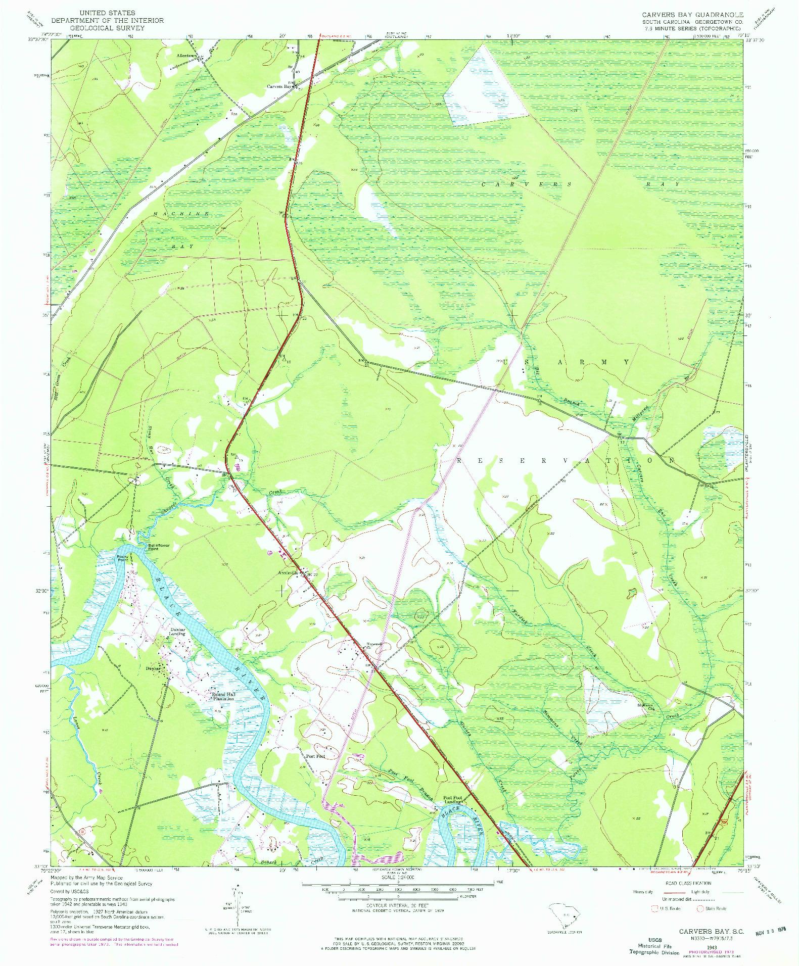 USGS 1:24000-SCALE QUADRANGLE FOR CARVERS BAY, SC 1943