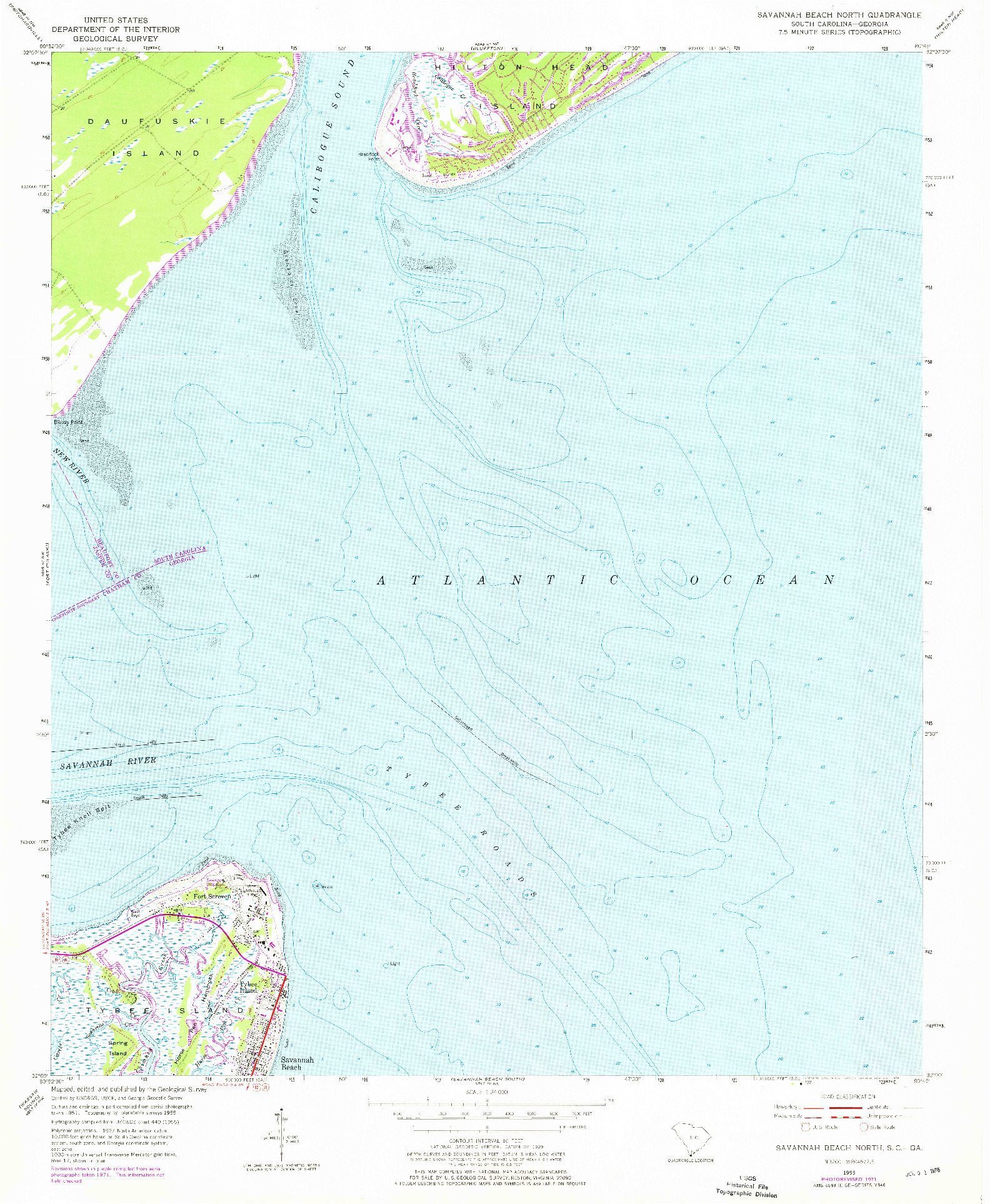 USGS 1:24000-SCALE QUADRANGLE FOR SAVANNAH BEACH NORTH, SC 1955
