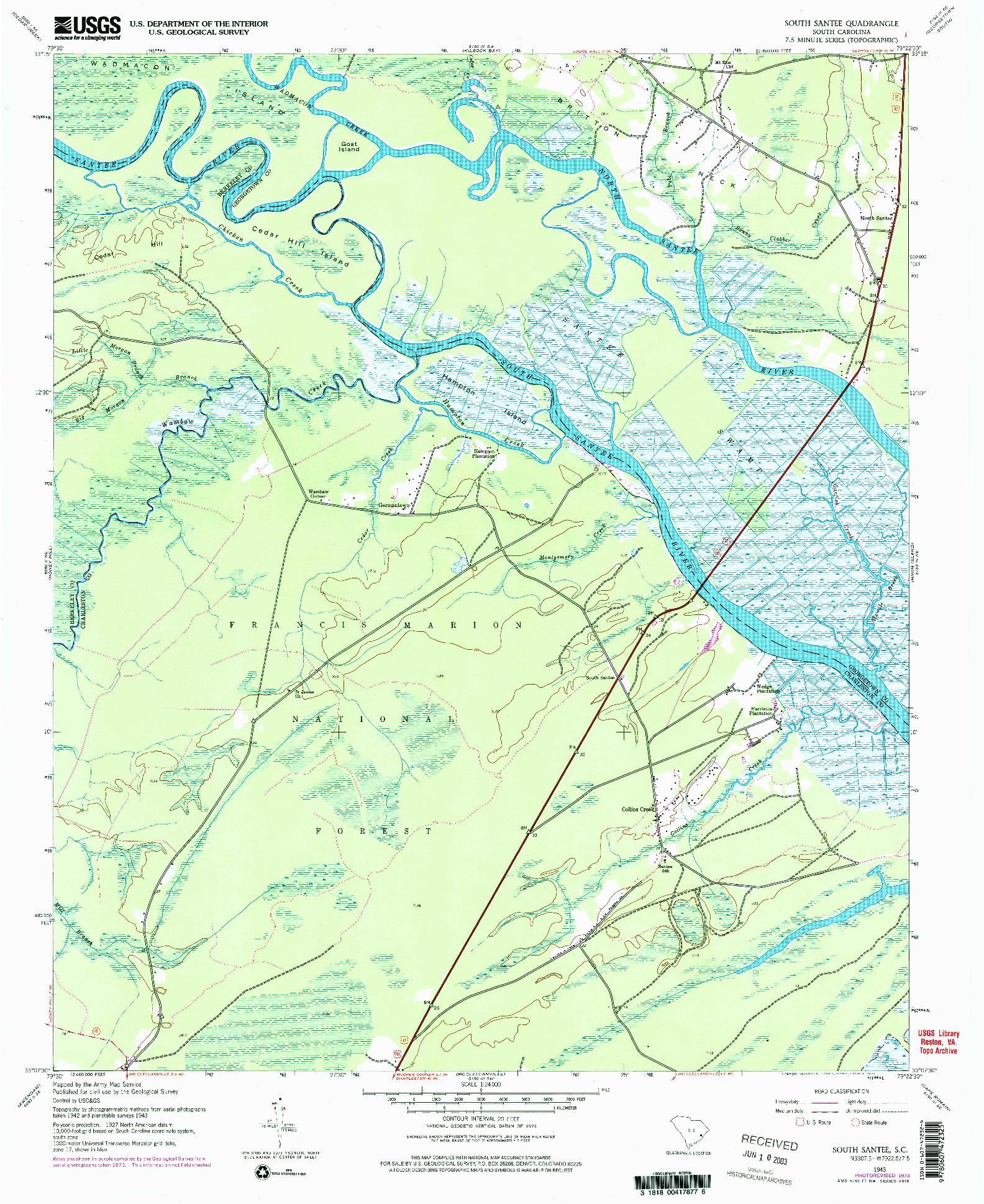 USGS 1:24000-SCALE QUADRANGLE FOR SOUTH SANTEE, SC 1943