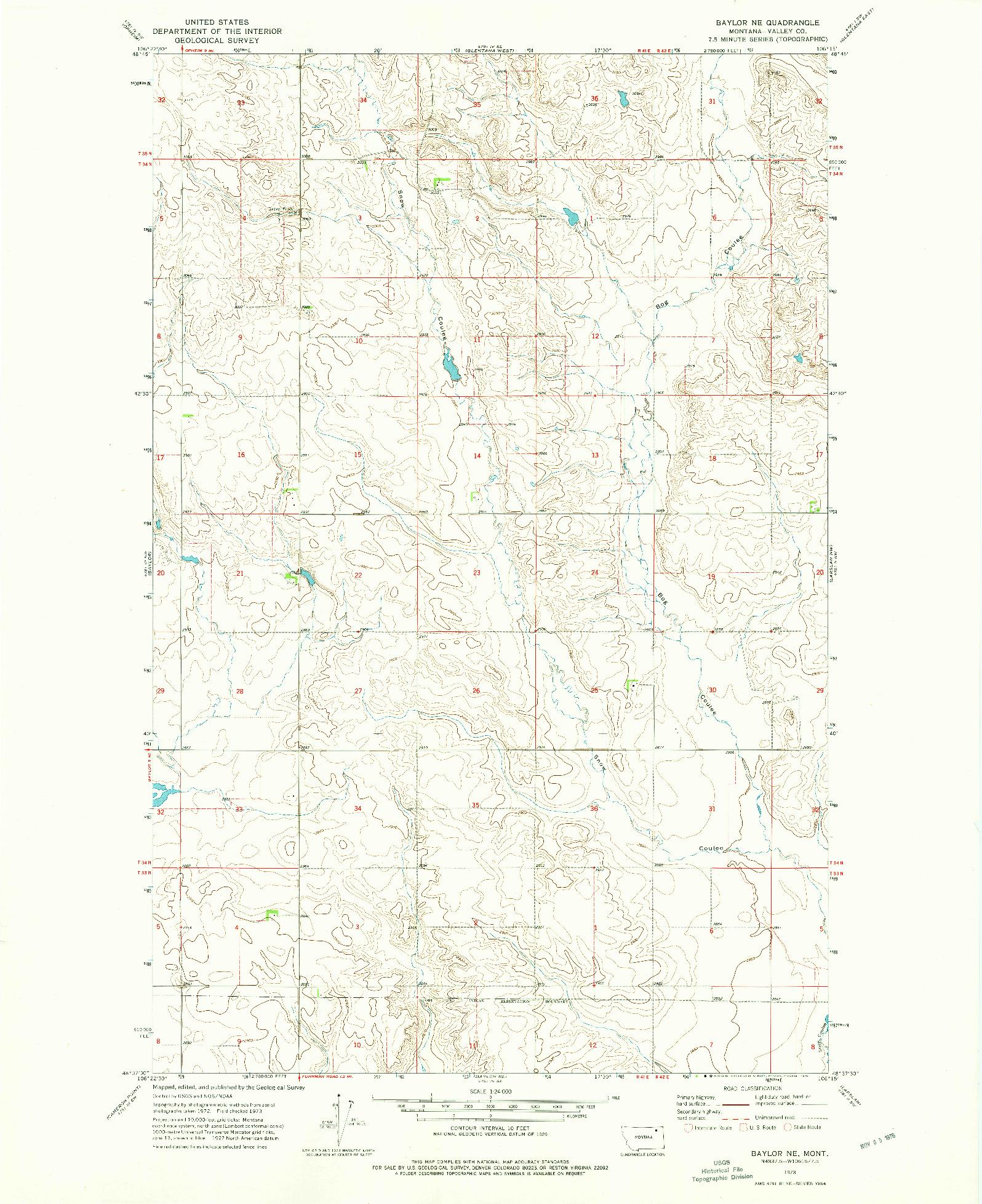 USGS 1:24000-SCALE QUADRANGLE FOR BAYLOR NE, MT 1973