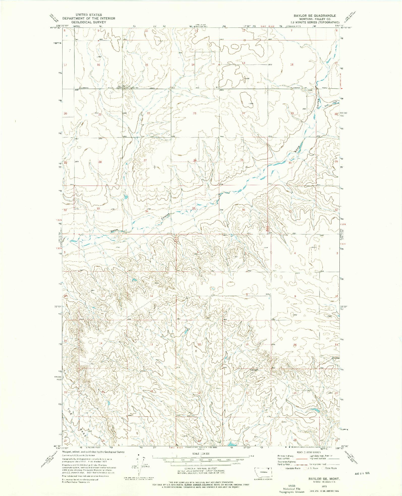USGS 1:24000-SCALE QUADRANGLE FOR BAYLOR SE, MT 1973