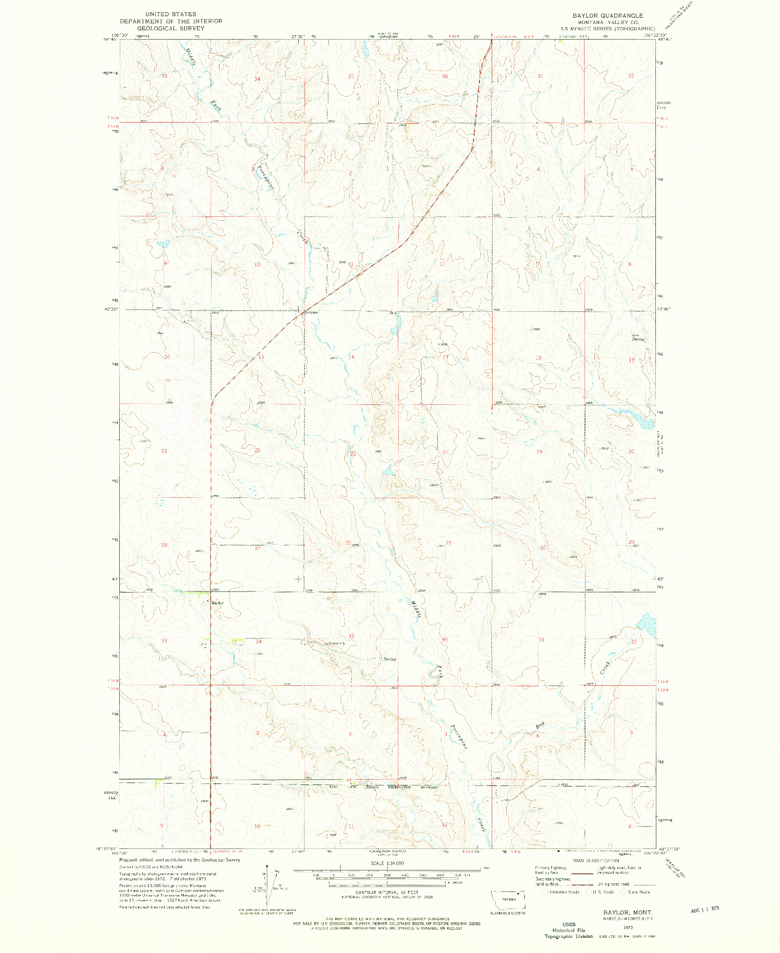 USGS 1:24000-SCALE QUADRANGLE FOR BAYLOR, MT 1973