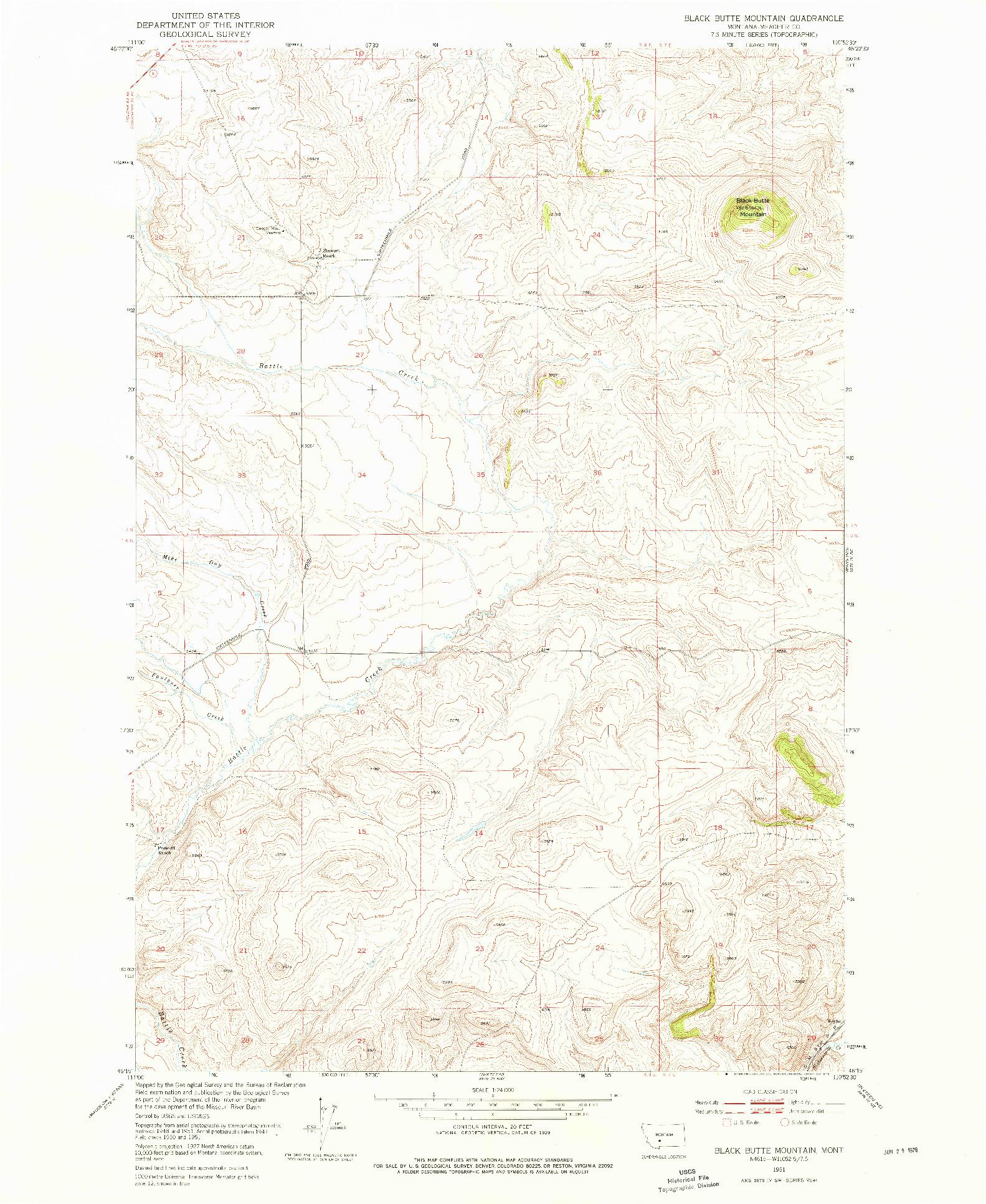 USGS 1:24000-SCALE QUADRANGLE FOR BLACK BUTTE MOUNTAIN, MT 1951