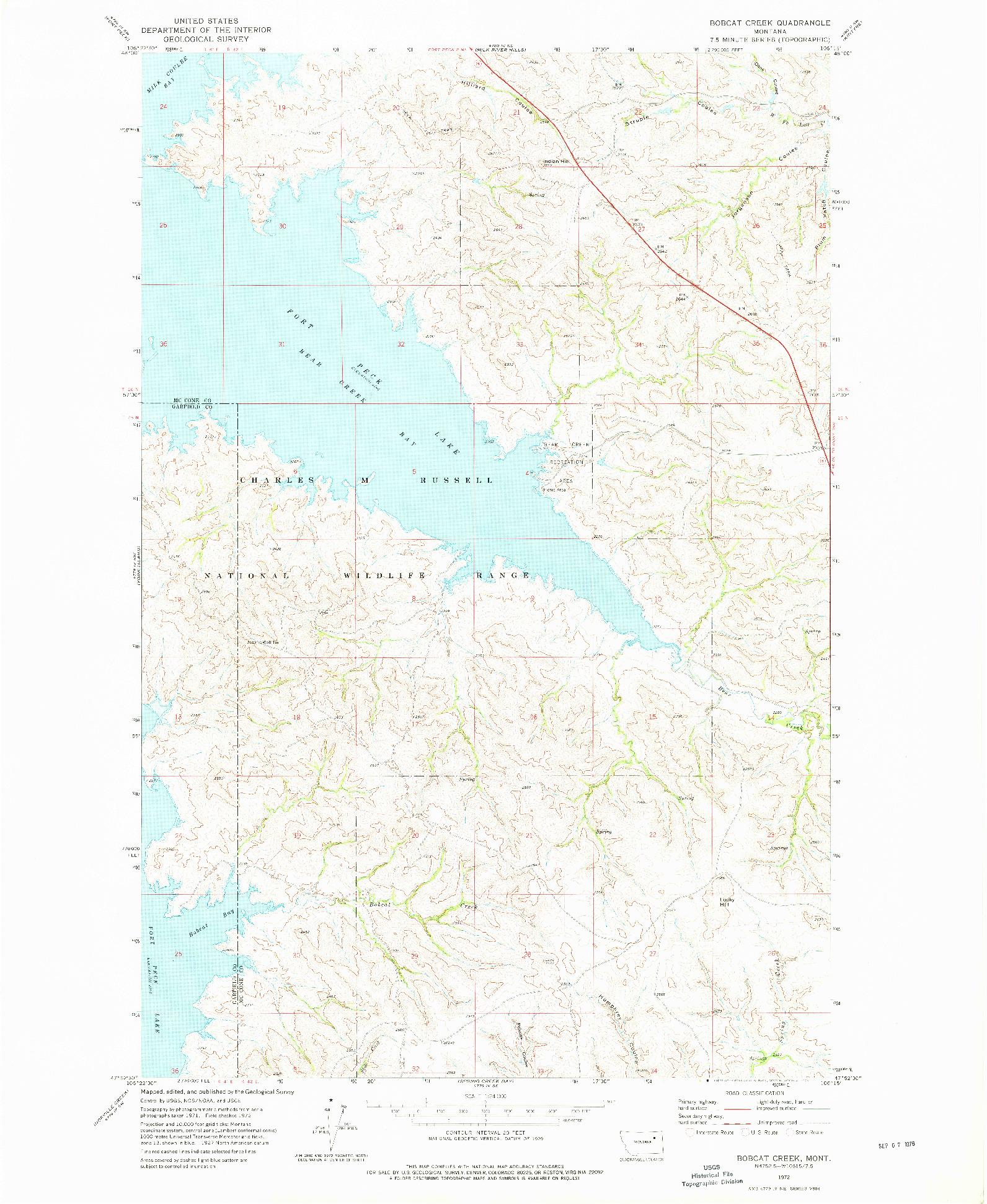 USGS 1:24000-SCALE QUADRANGLE FOR BOBCAT CREEK, MT 1972
