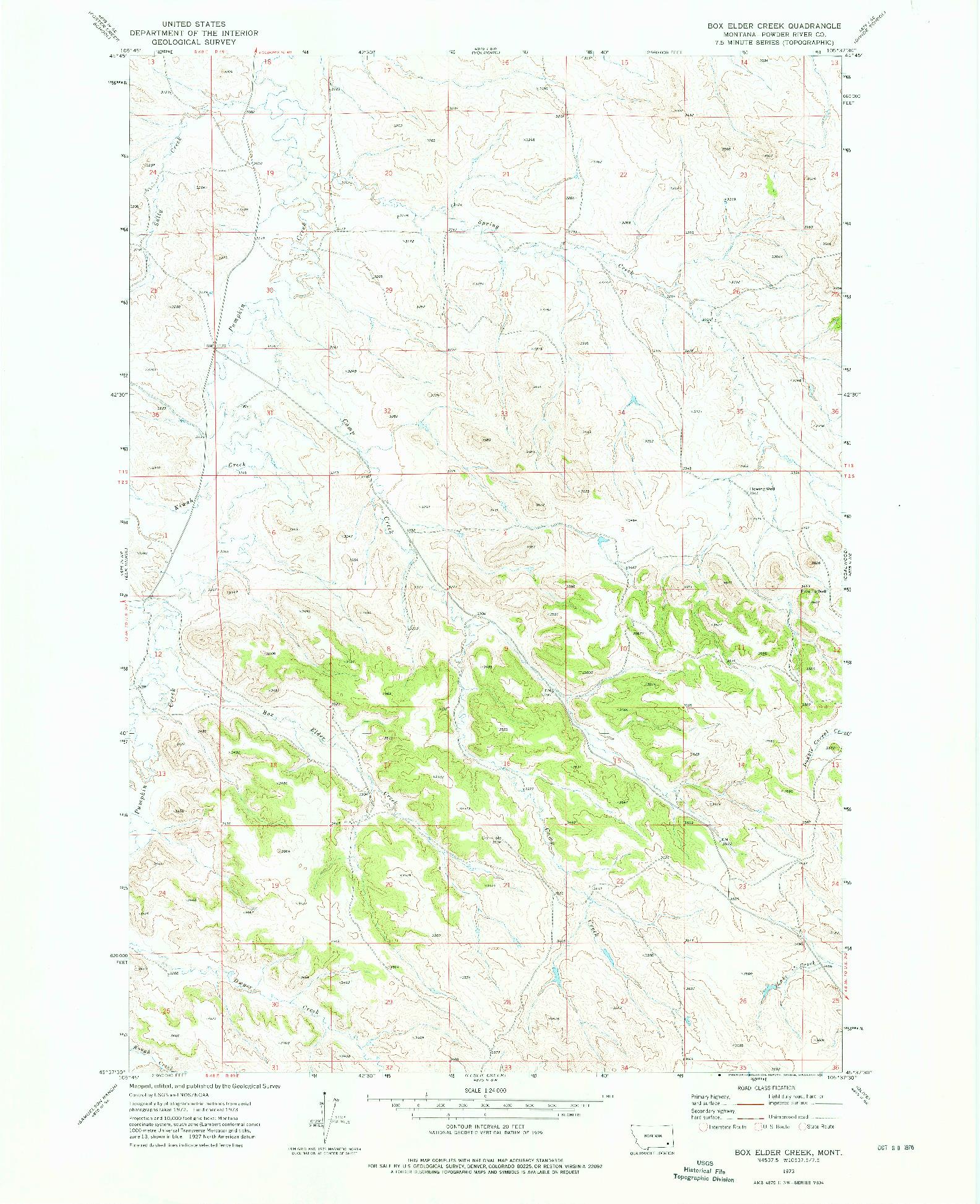 USGS 1:24000-SCALE QUADRANGLE FOR BOX ELDER CREEK, MT 1973
