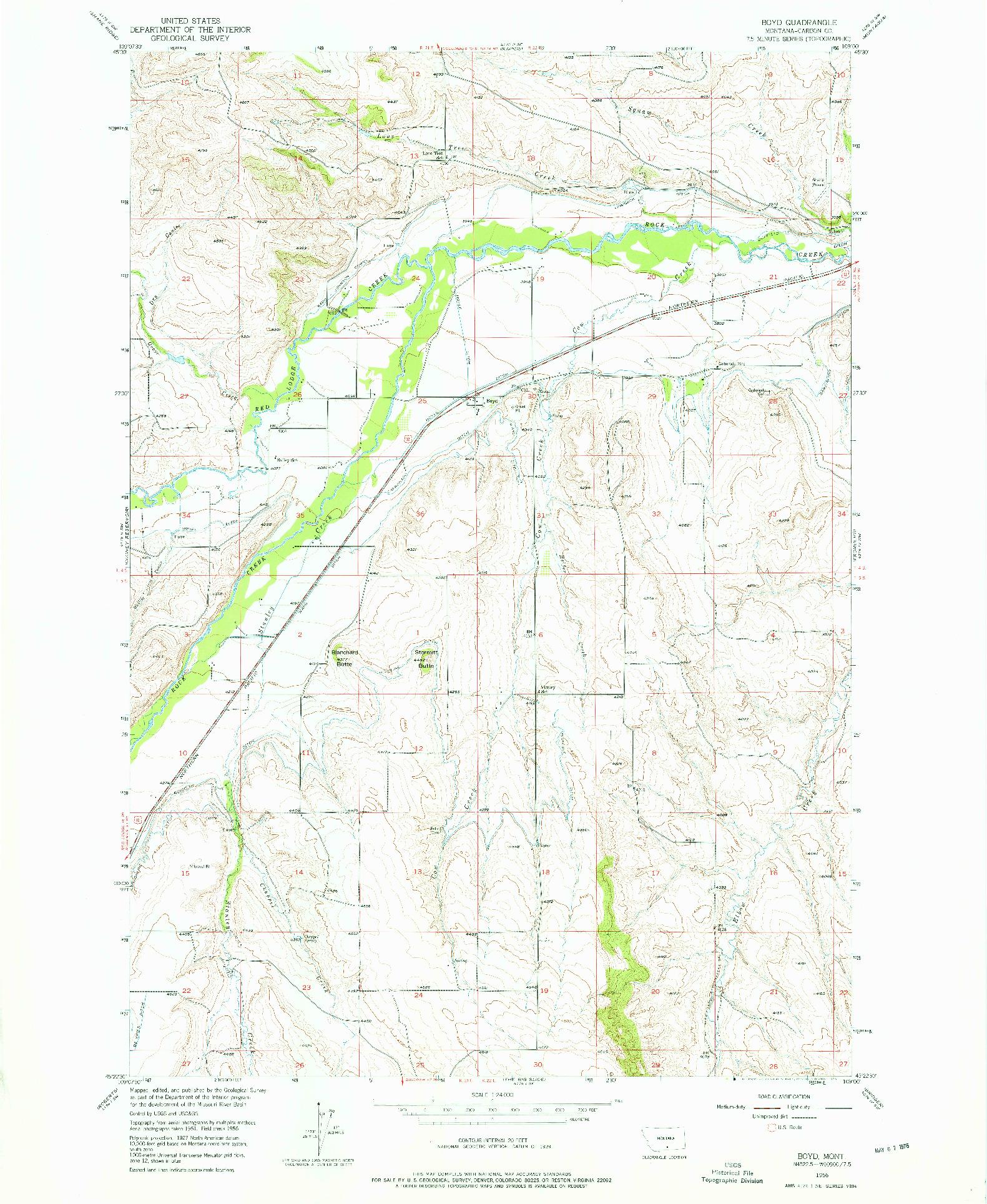 USGS 1:24000-SCALE QUADRANGLE FOR BOYD, MT 1956