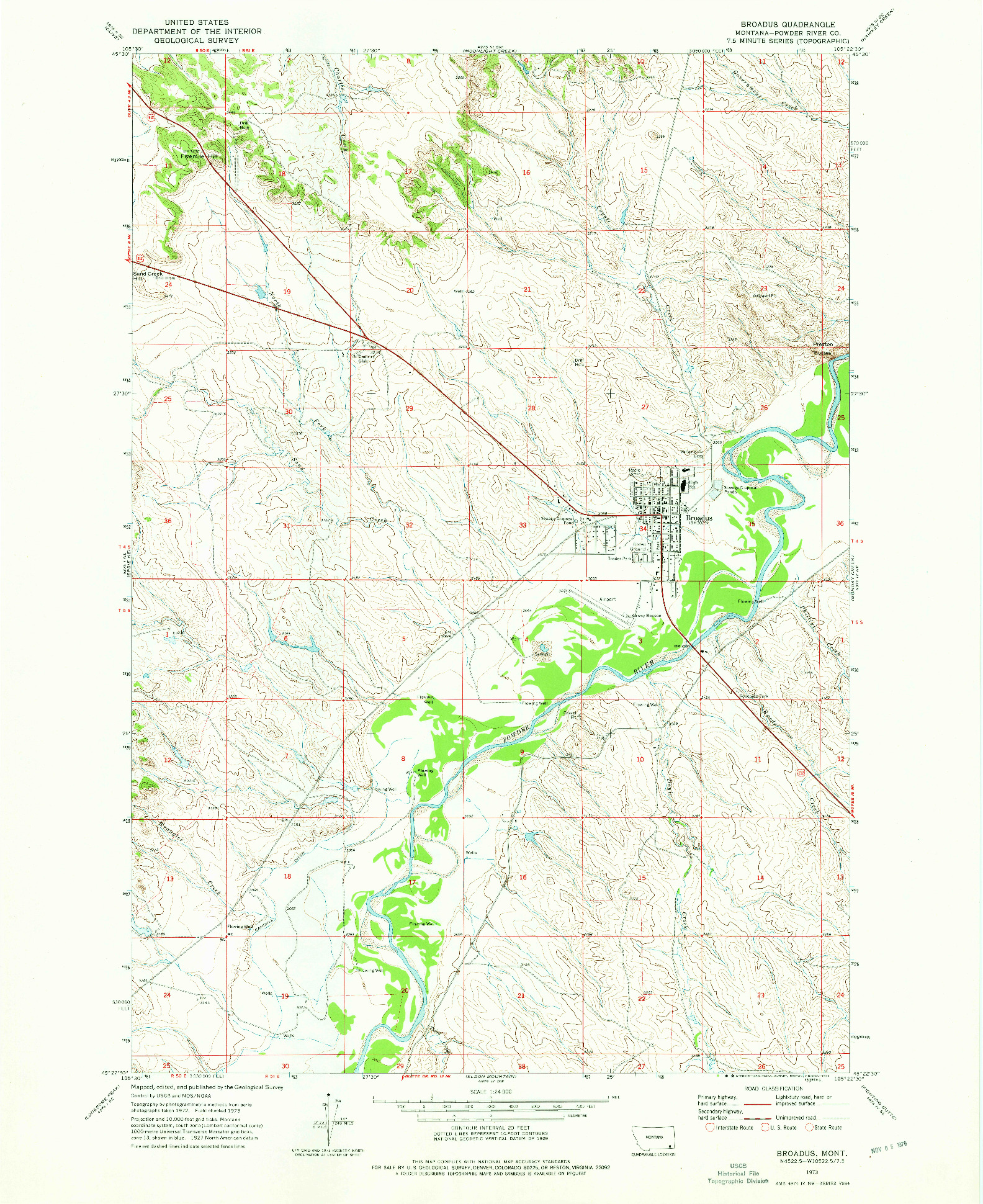 USGS 1:24000-SCALE QUADRANGLE FOR BROADUS, MT 1973