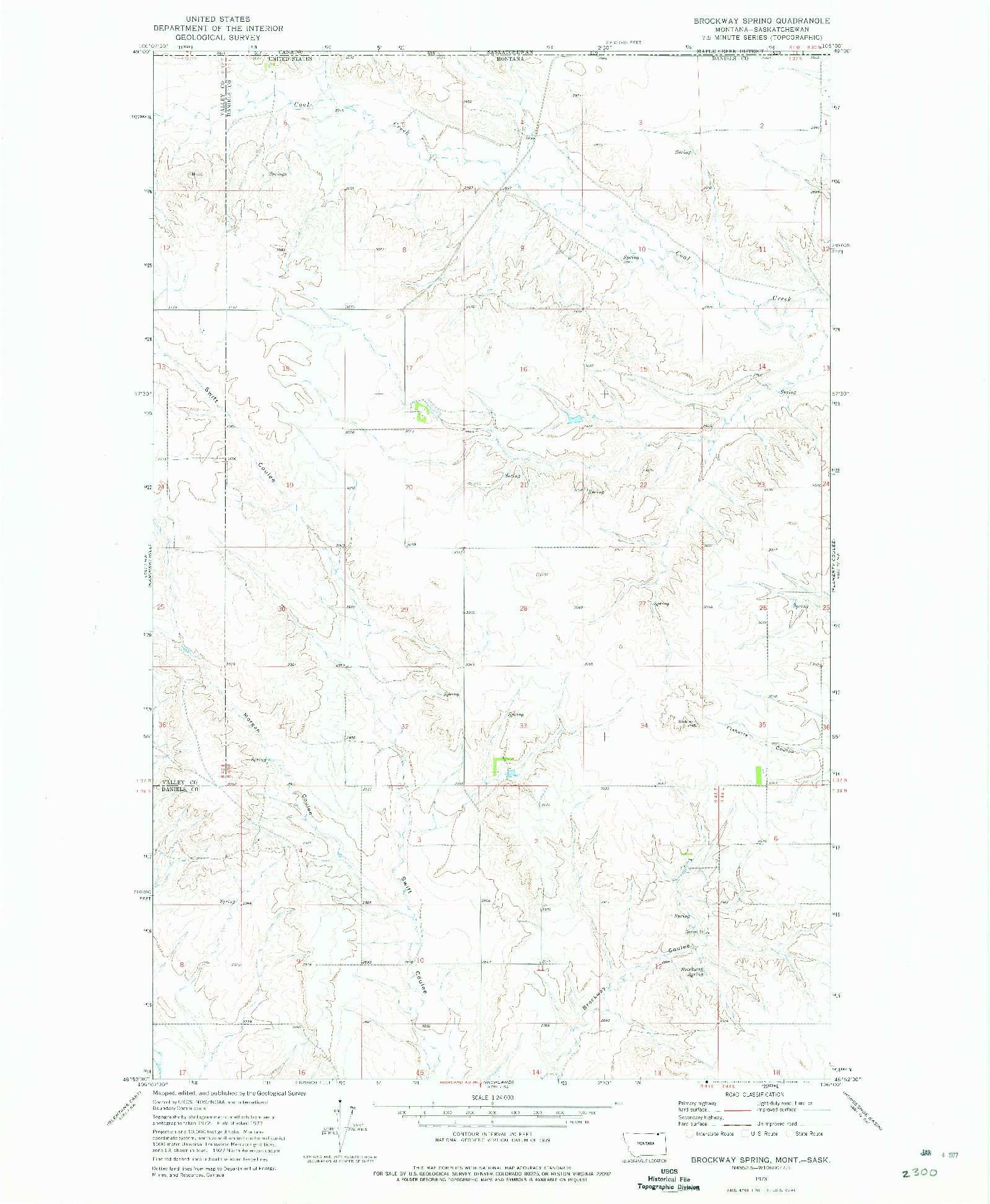 USGS 1:24000-SCALE QUADRANGLE FOR BROCKWAY SPRING, MT 1973