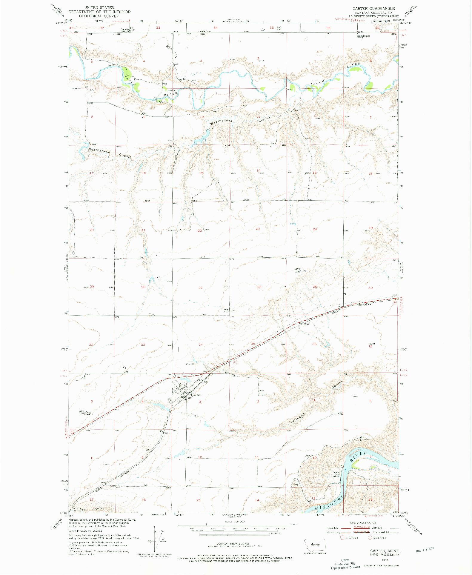 USGS 1:24000-SCALE QUADRANGLE FOR CARTER, MT 1953