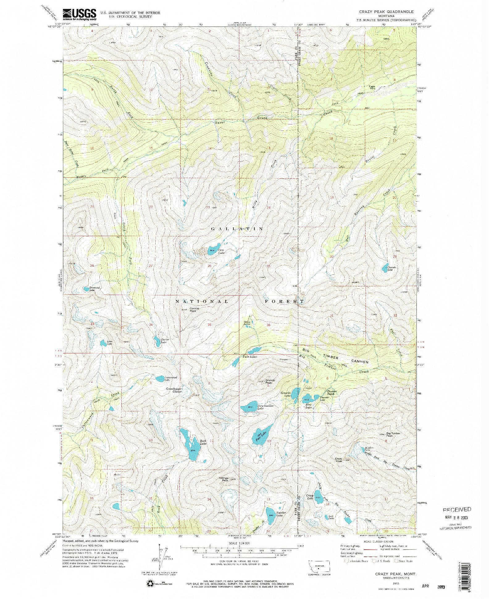 USGS 1:24000-SCALE QUADRANGLE FOR CRAZY PEAK, MT 1972