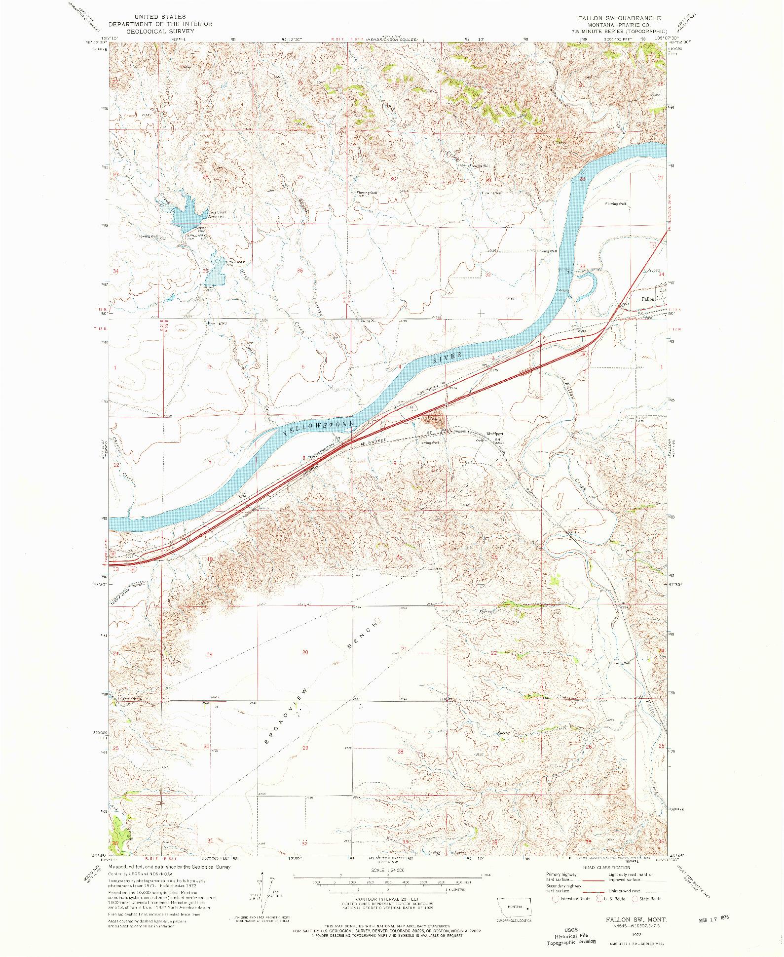 USGS 1:24000-SCALE QUADRANGLE FOR FALLON SW, MT 1972
