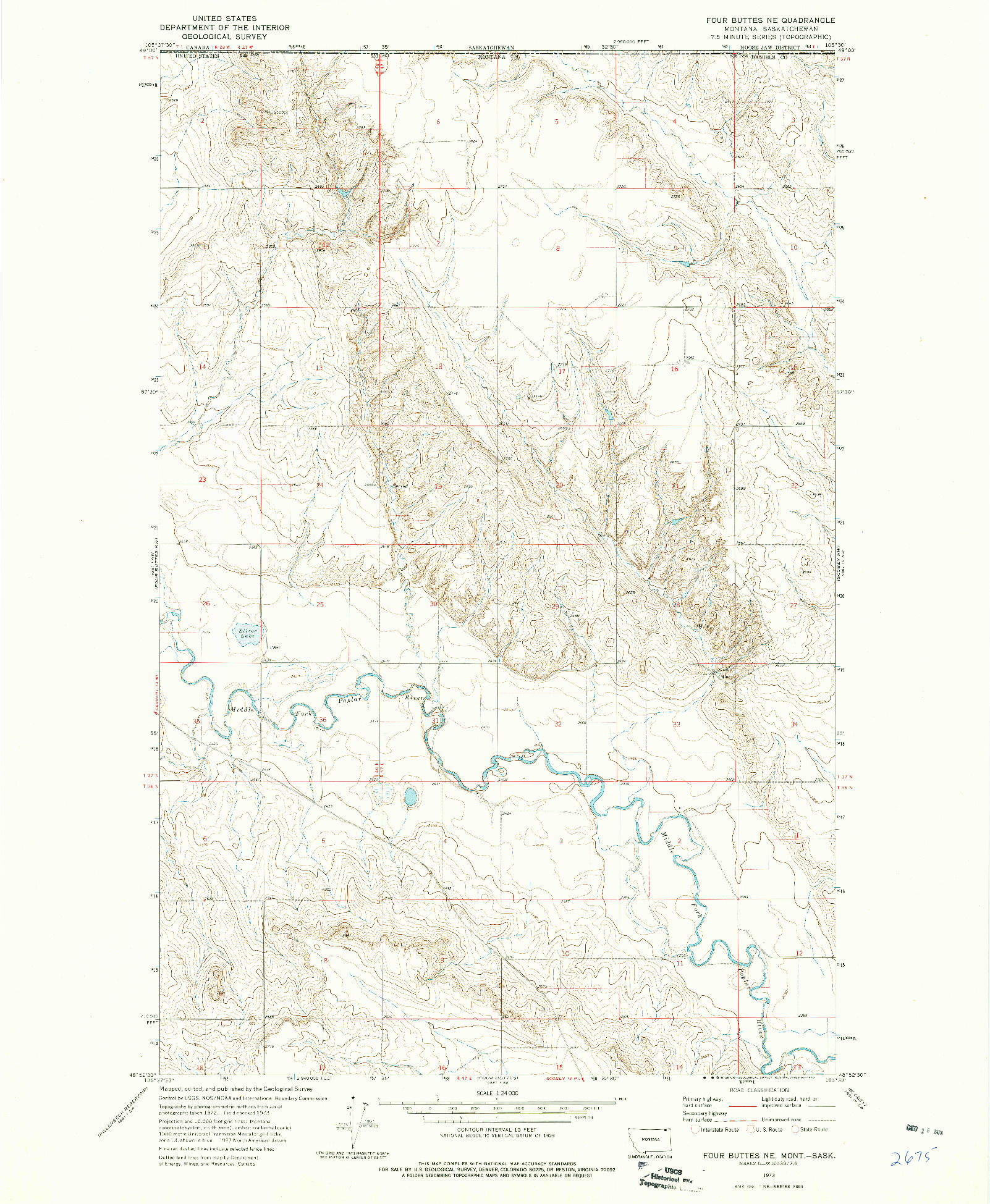 USGS 1:24000-SCALE QUADRANGLE FOR FOUR BUTTES NE, MT 1973