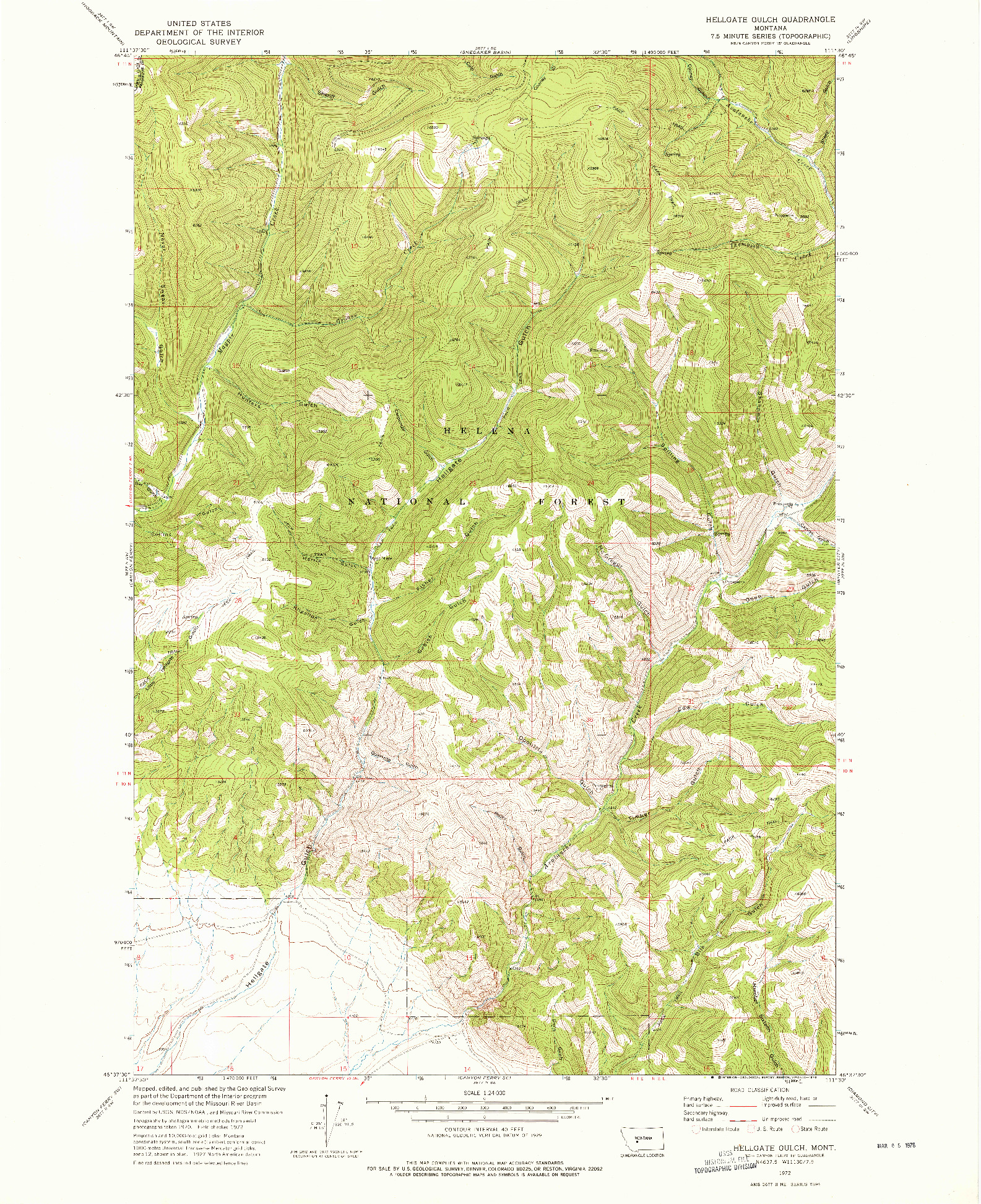 USGS 1:24000-SCALE QUADRANGLE FOR HELLGATE GULCH, MT 1972