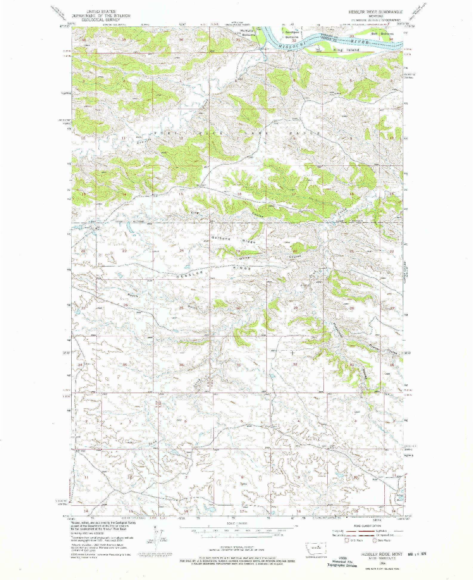 USGS 1:24000-SCALE QUADRANGLE FOR HESSLER RIDGE, MT 1954
