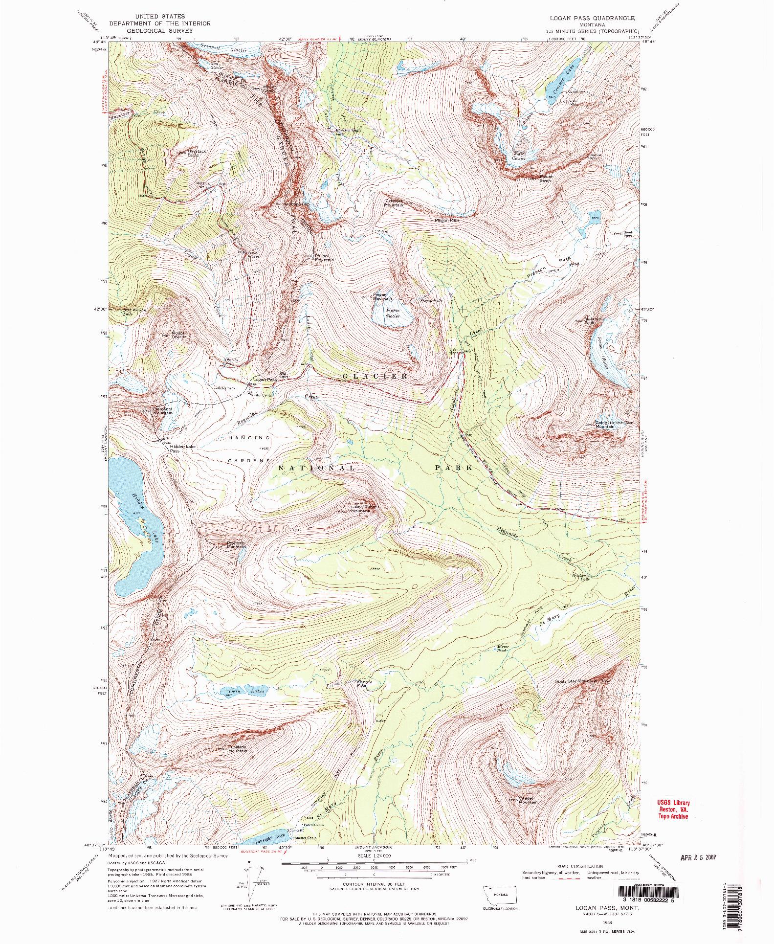 USGS 1:24000-SCALE QUADRANGLE FOR LOGAN PASS, MT 1968