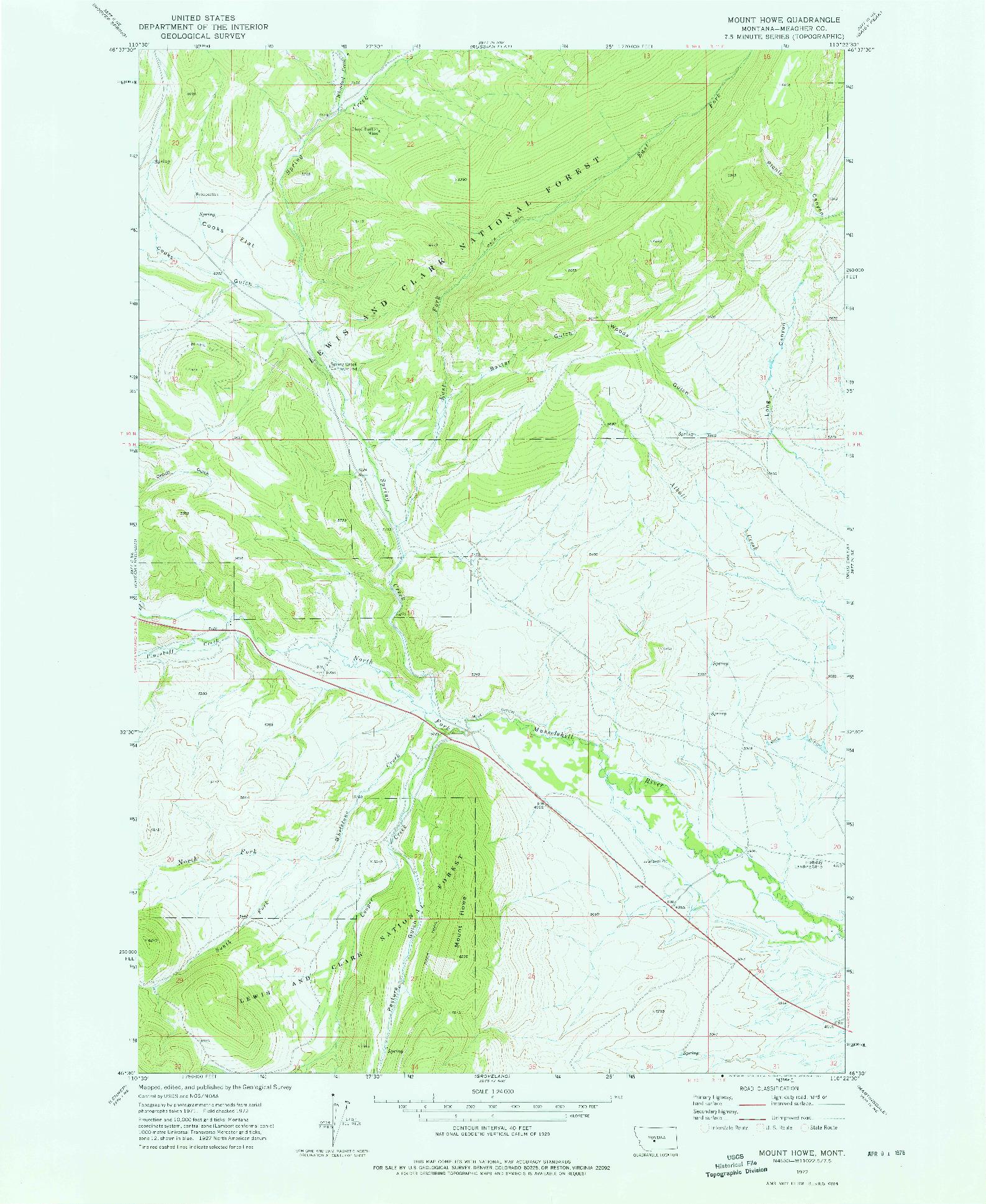 USGS 1:24000-SCALE QUADRANGLE FOR MOUNT HOWE, MT 1972