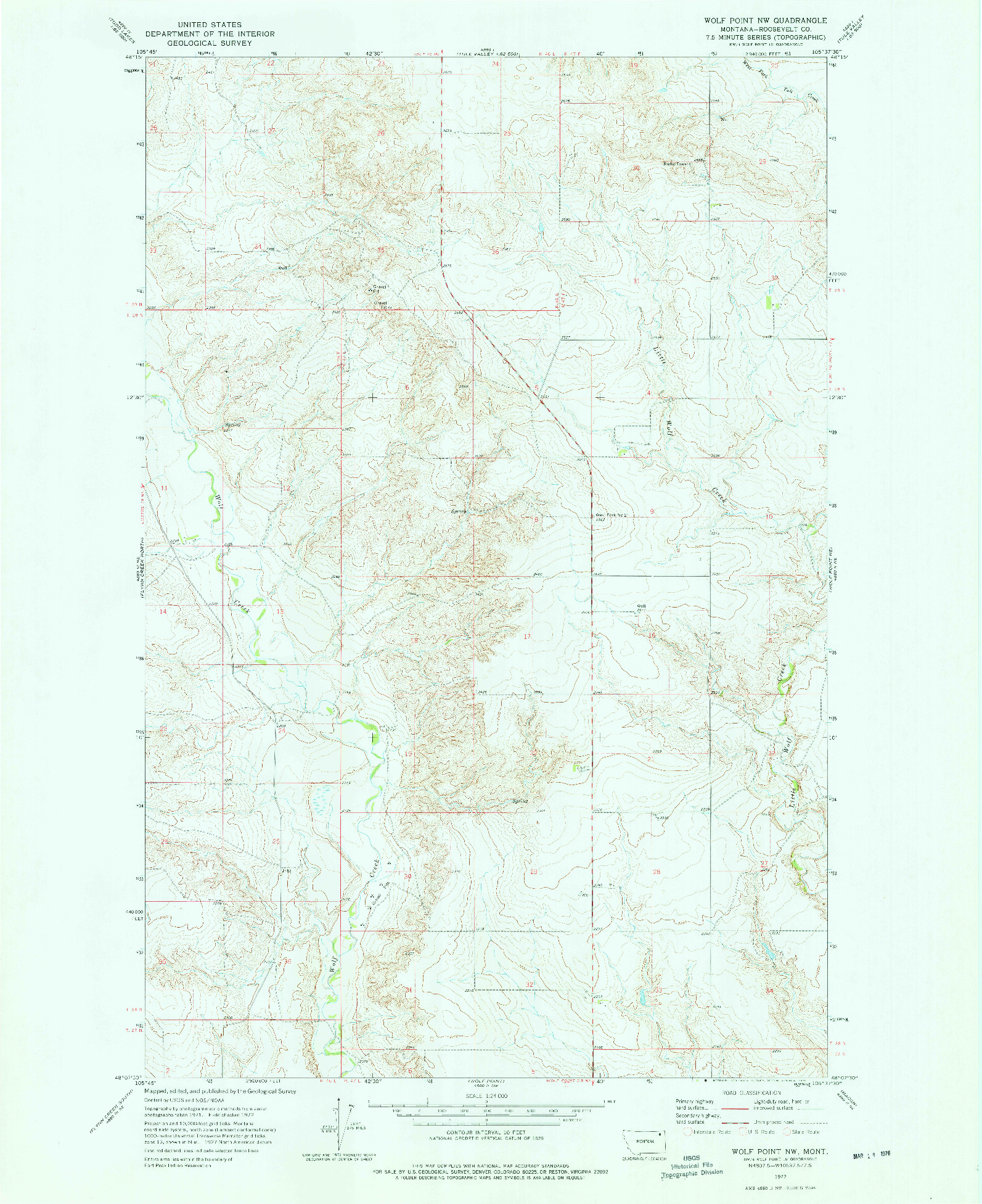 USGS 1:24000-SCALE QUADRANGLE FOR WOLF POINT NW, MT 1972