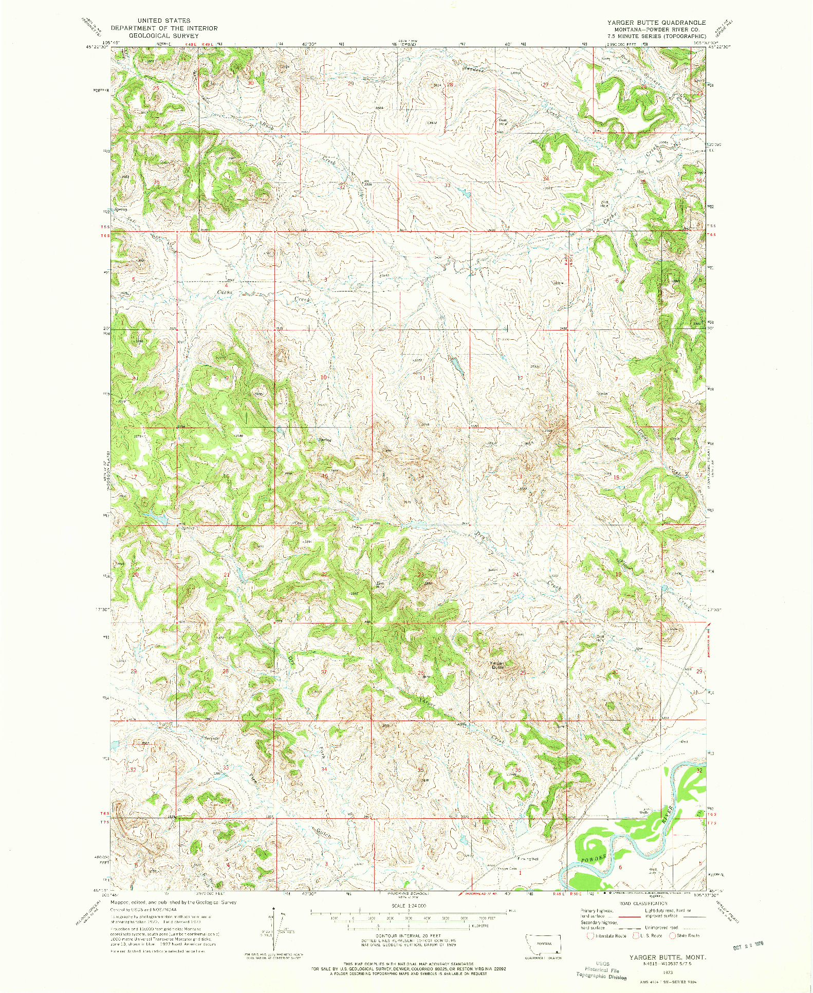 USGS 1:24000-SCALE QUADRANGLE FOR YARGER BUTTE, MT 1973