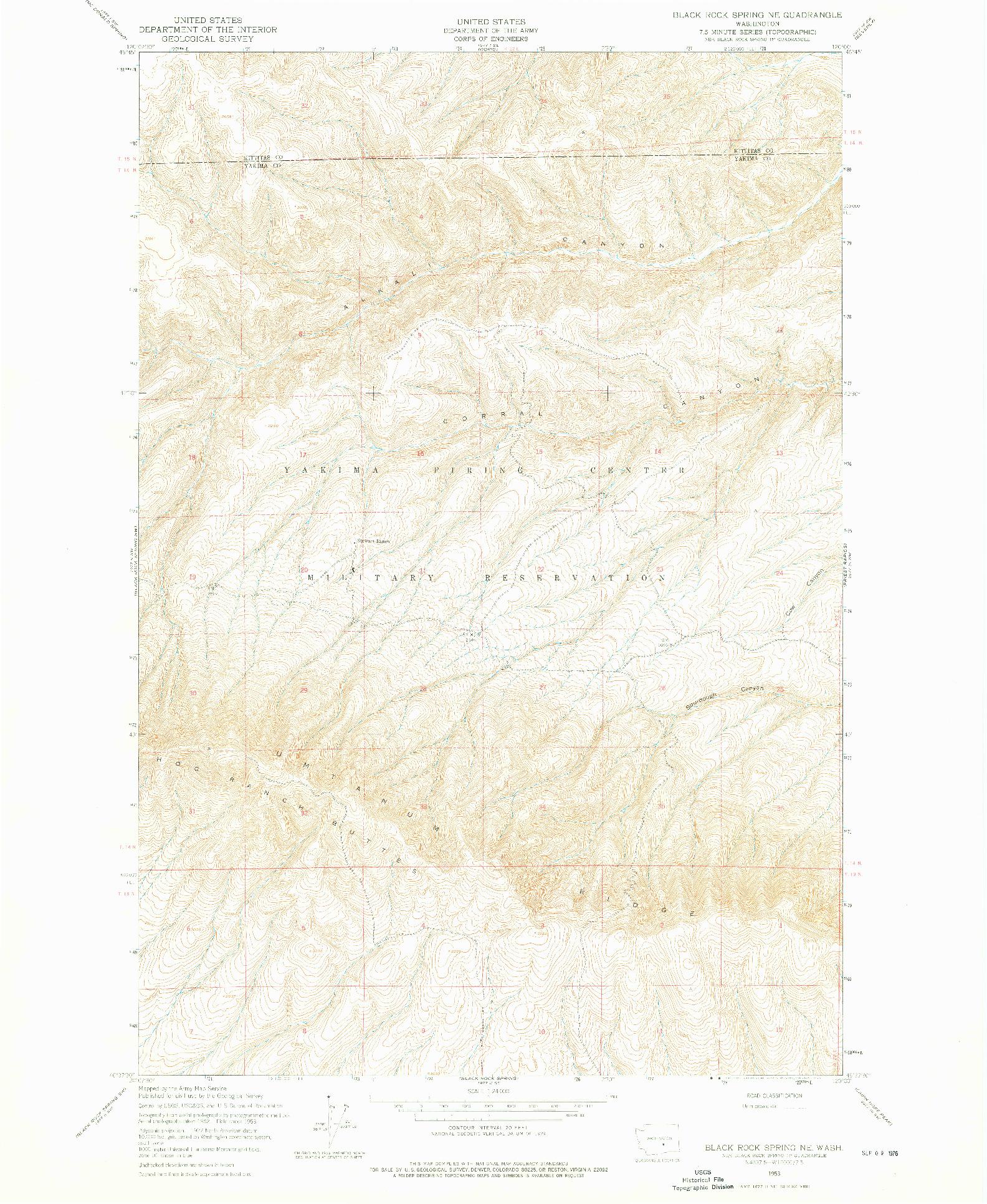 USGS 1:24000-SCALE QUADRANGLE FOR BLACK ROCK SPRING NE, WA 1953