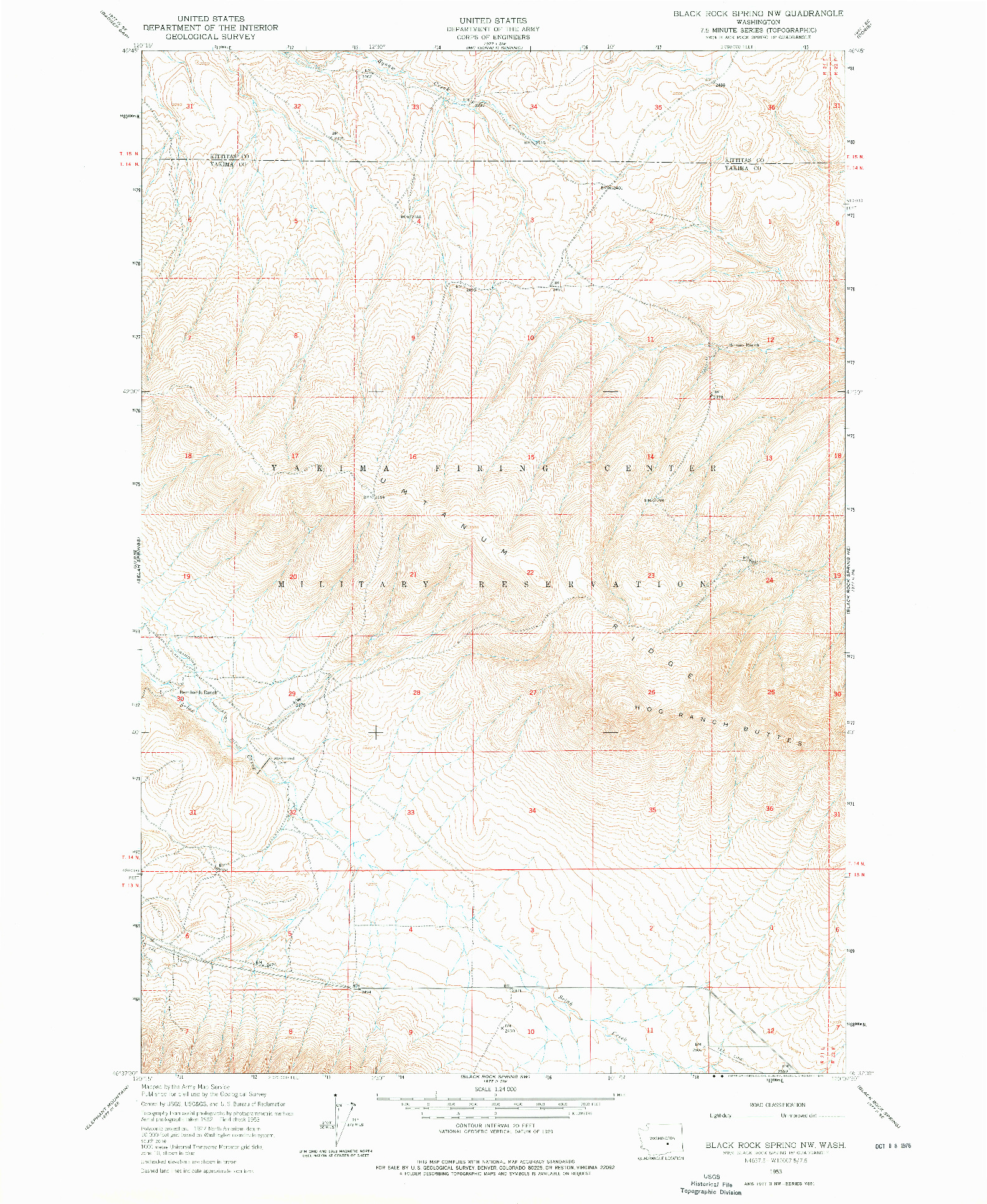 USGS 1:24000-SCALE QUADRANGLE FOR BLACK ROCK SPRING NW, WA 1953