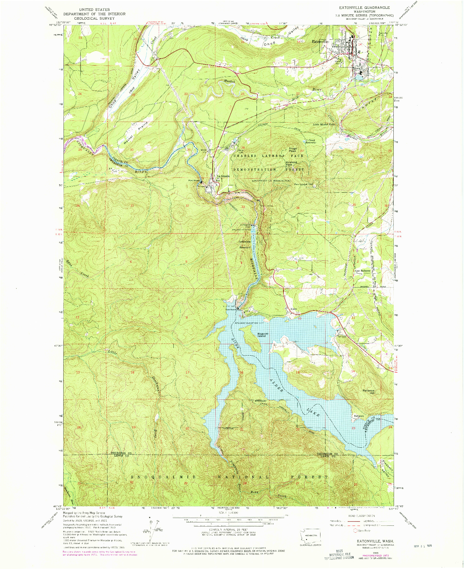 USGS 1:24000-SCALE QUADRANGLE FOR EATONVILLE, WA 1959