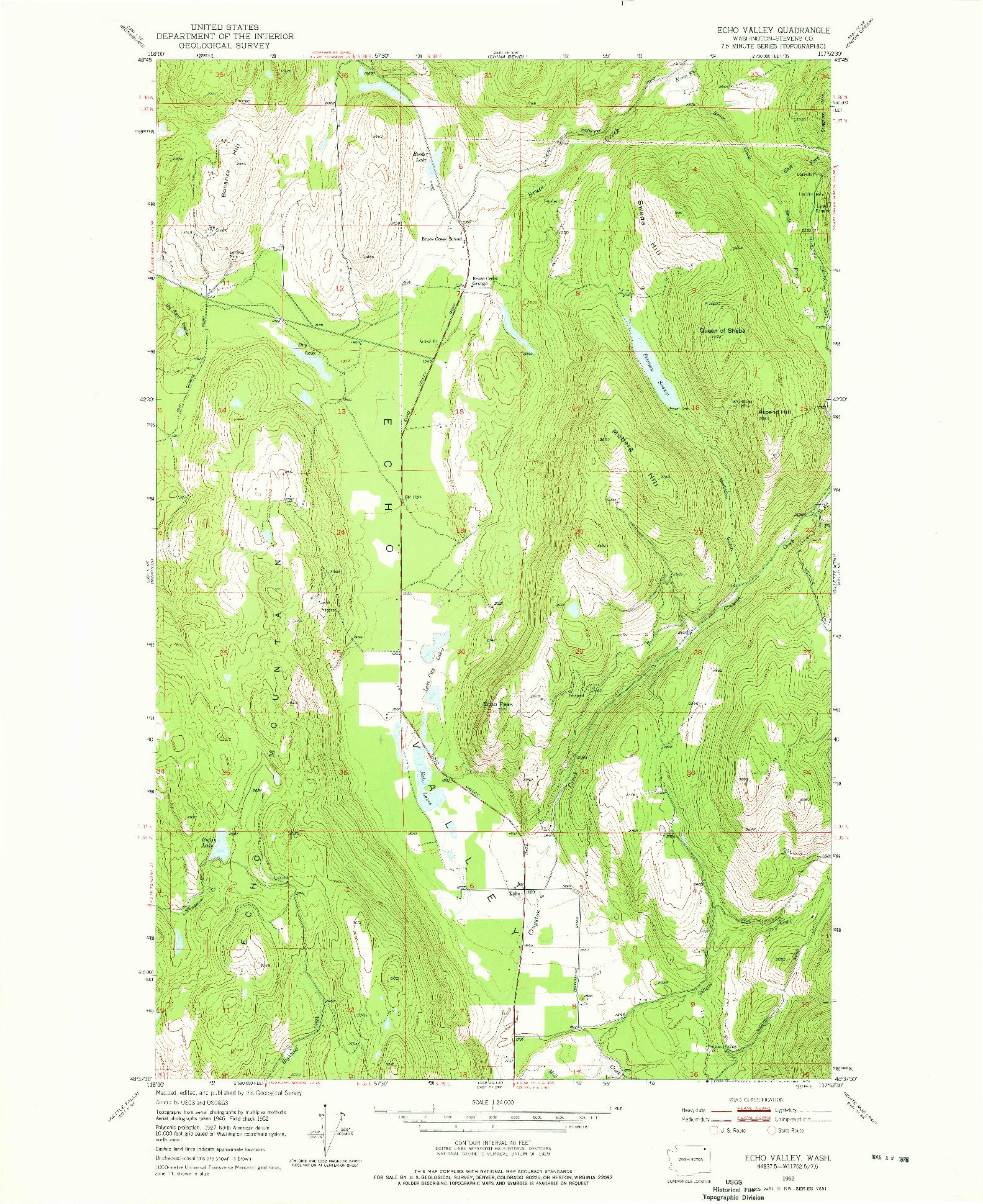 USGS 1:24000-SCALE QUADRANGLE FOR ECHO VALLEY, WA 1952
