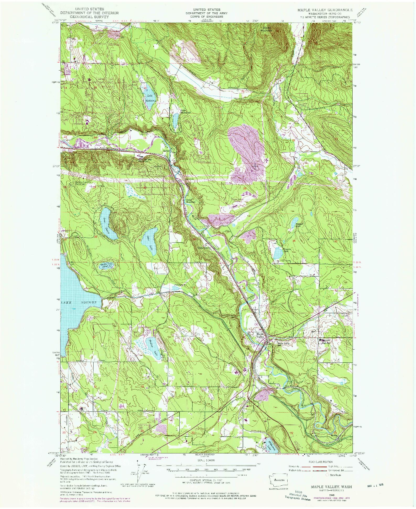 USGS 1:24000-SCALE QUADRANGLE FOR MAPLE VALLEY, WA 1949