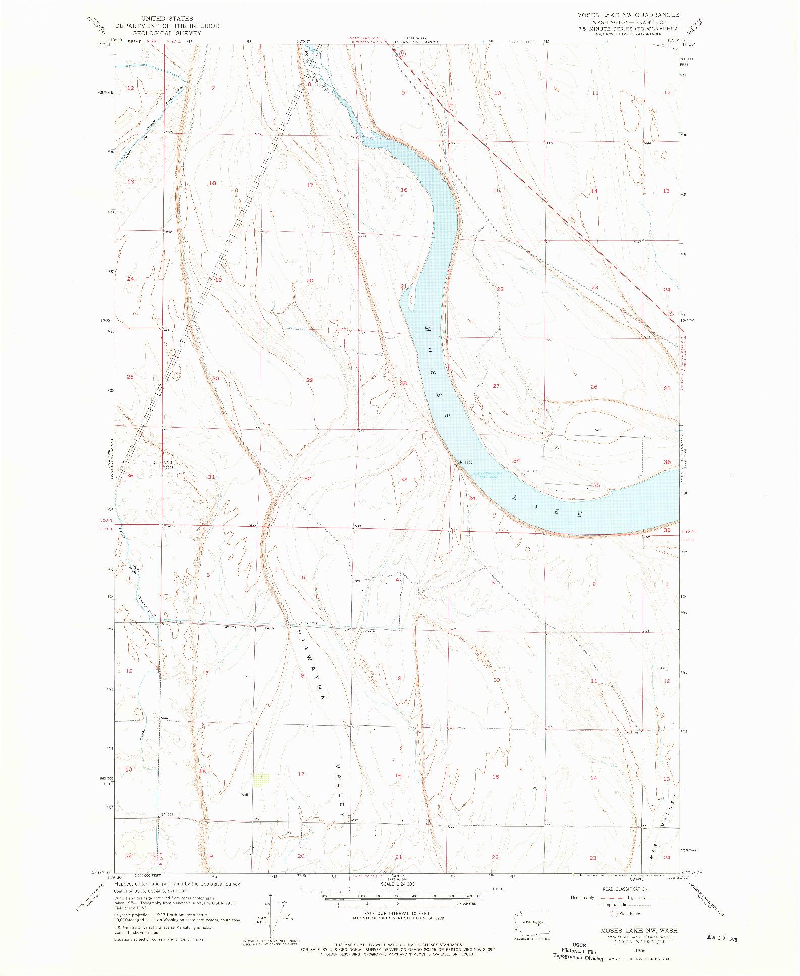USGS 1:24000-SCALE QUADRANGLE FOR MOSES LAKE NW, WA 1956