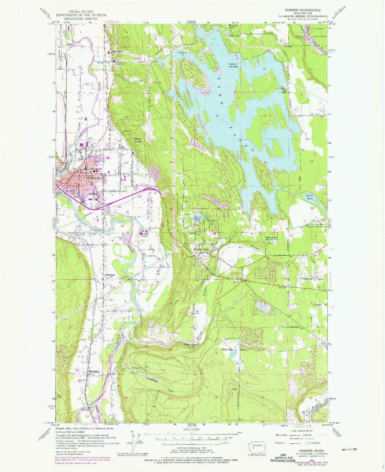USGS 1:24000-SCALE QUADRANGLE FOR SUMNER, WA 1956