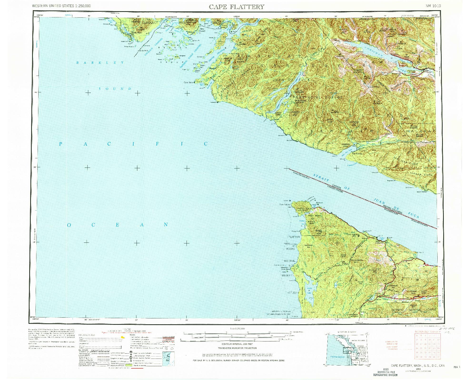 USGS 1:250000-SCALE QUADRANGLE FOR CAPE FLATTERY, WA 1953