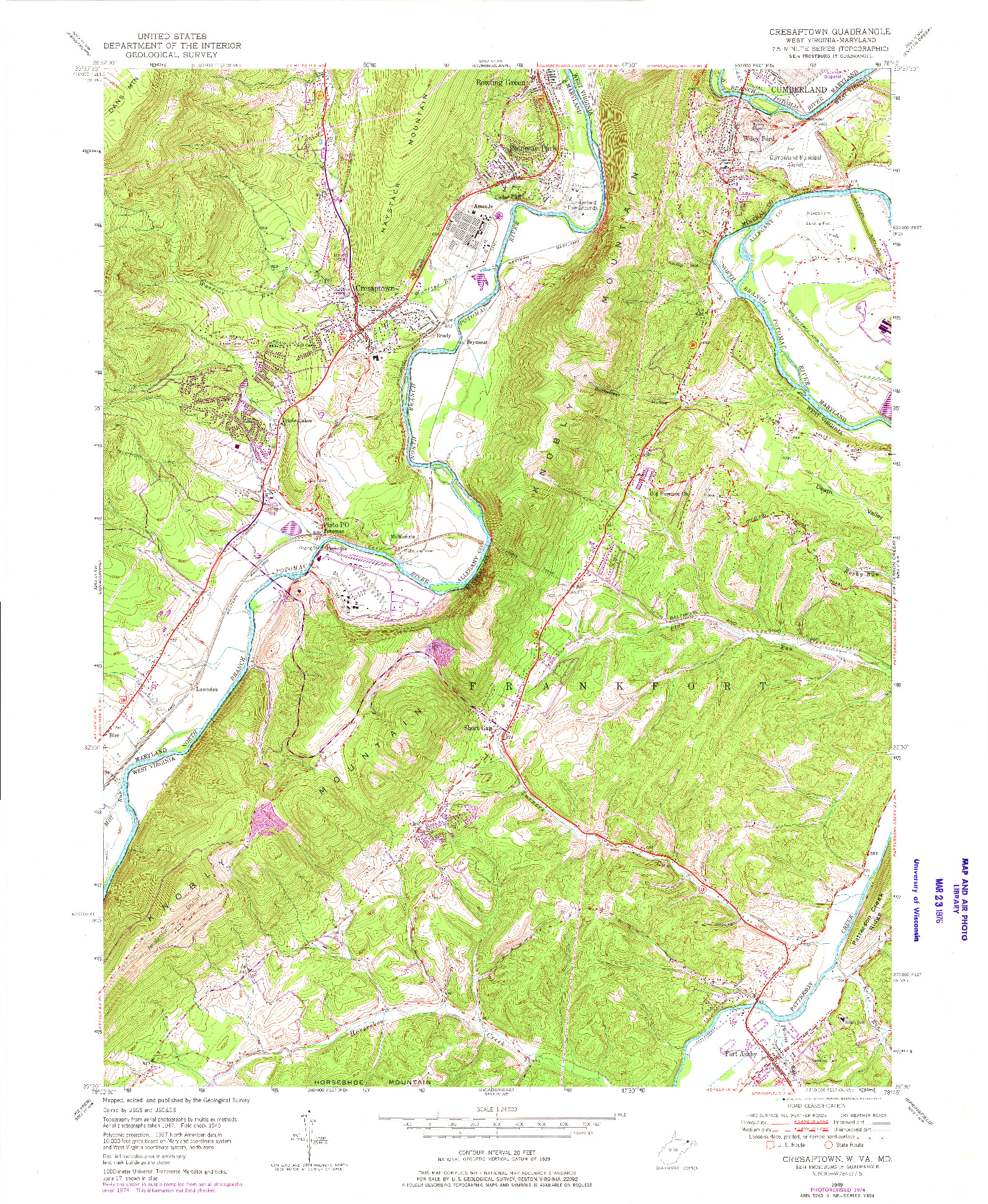 USGS 1:24000-SCALE QUADRANGLE FOR CRESAPTOWN, WV 1949