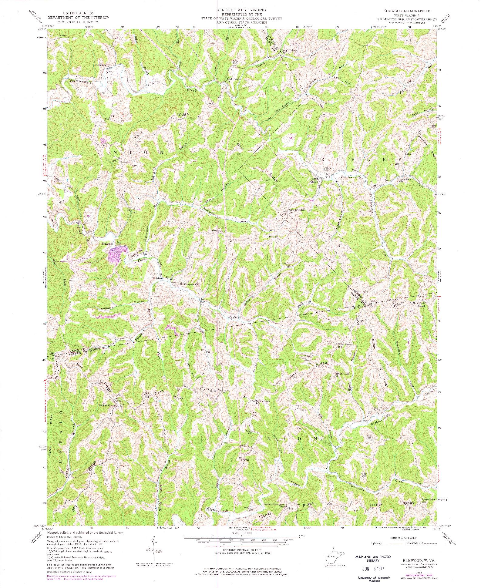 USGS 1:24000-SCALE QUADRANGLE FOR ELMWOOD, WV 1958
