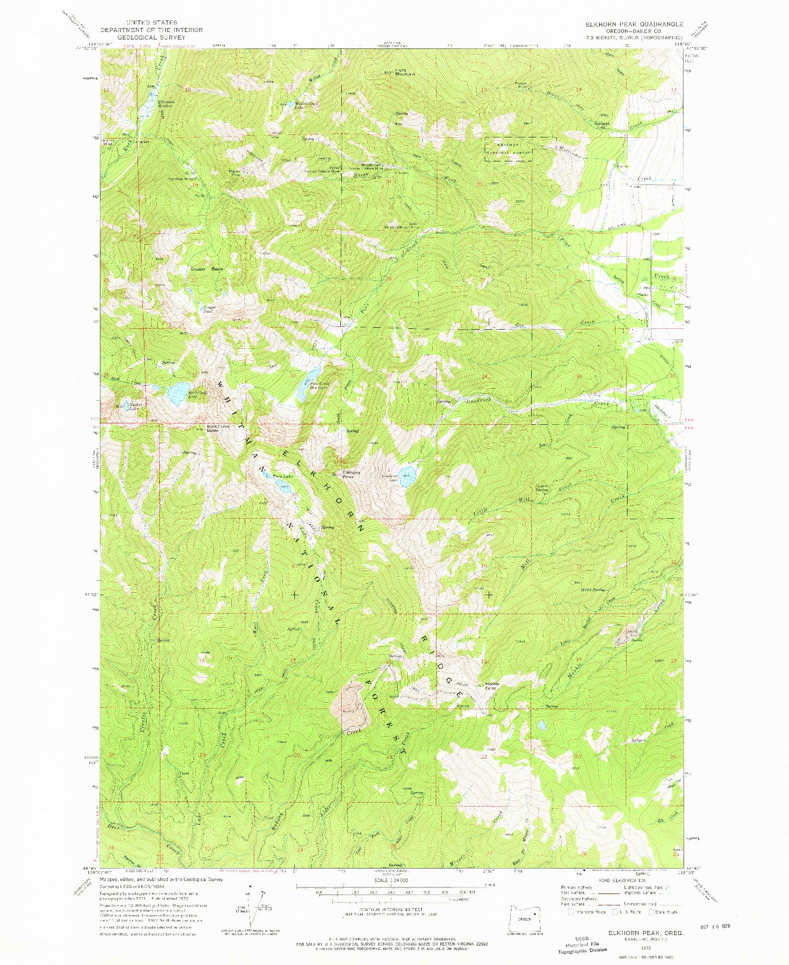 USGS 1:24000-SCALE QUADRANGLE FOR ELKHORN PEAK, OR 1972