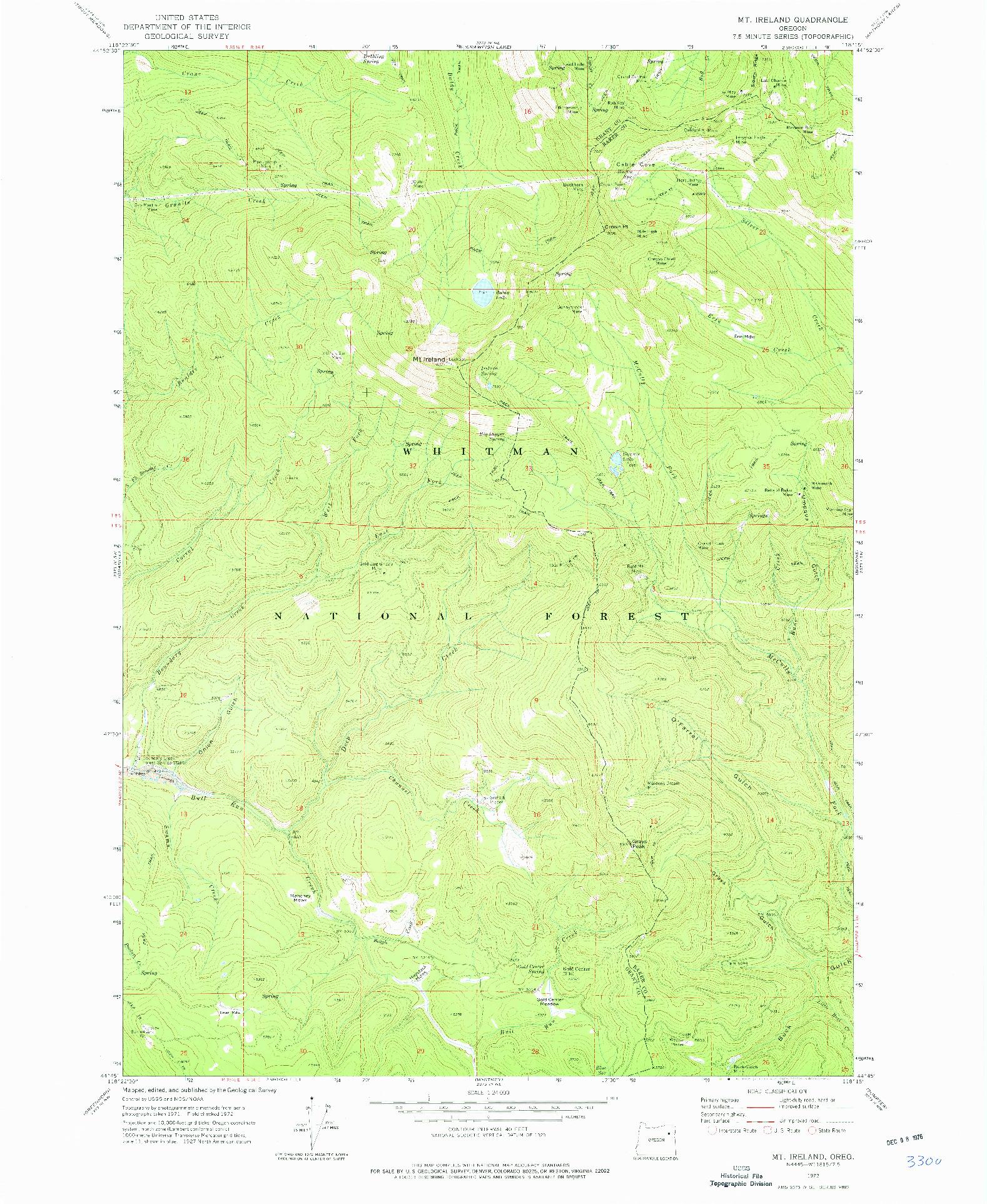 USGS 1:24000-SCALE QUADRANGLE FOR MT. IRELAND, OR 1972