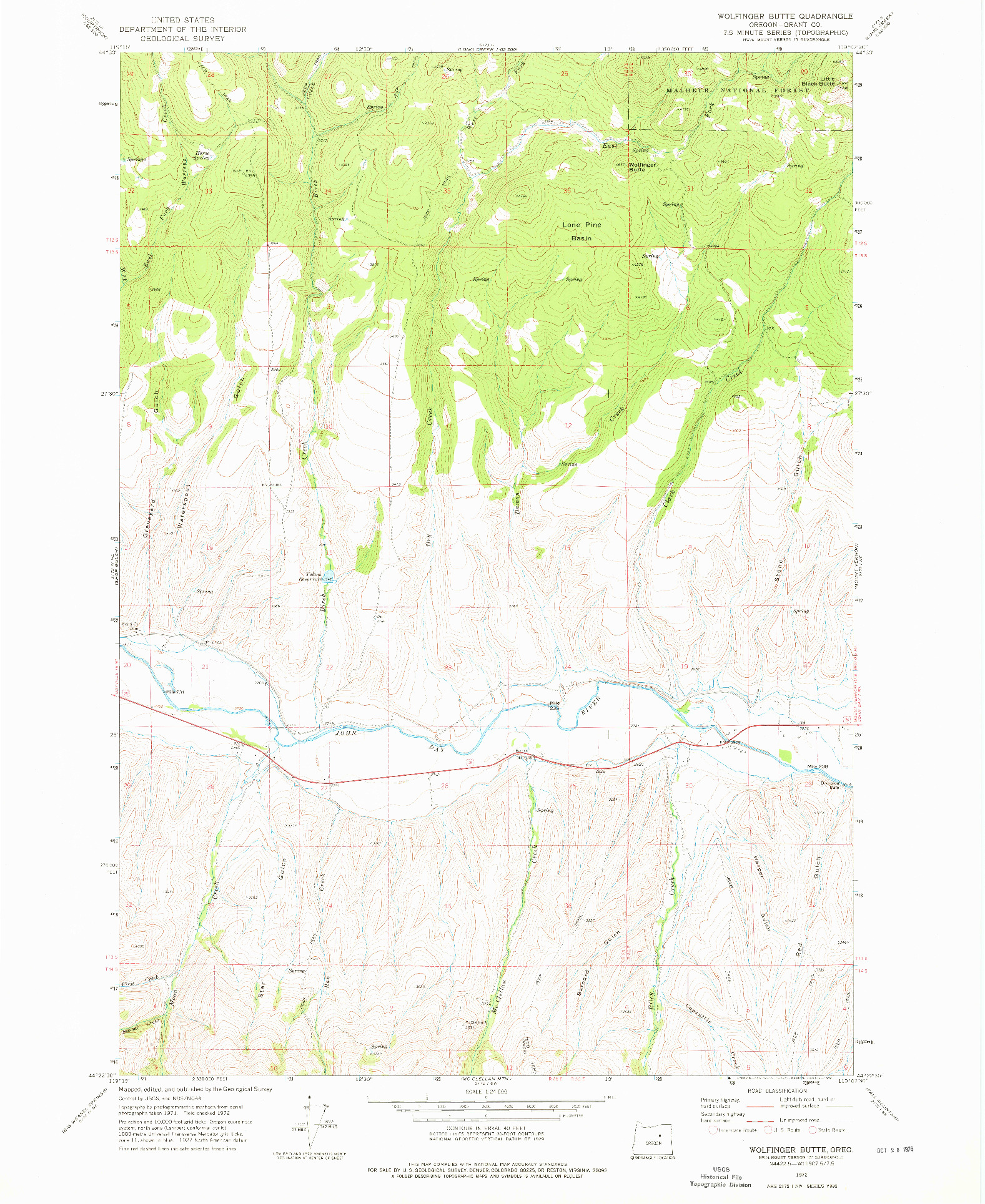 USGS 1:24000-SCALE QUADRANGLE FOR WOLFINGER BUTTE, OR 1972