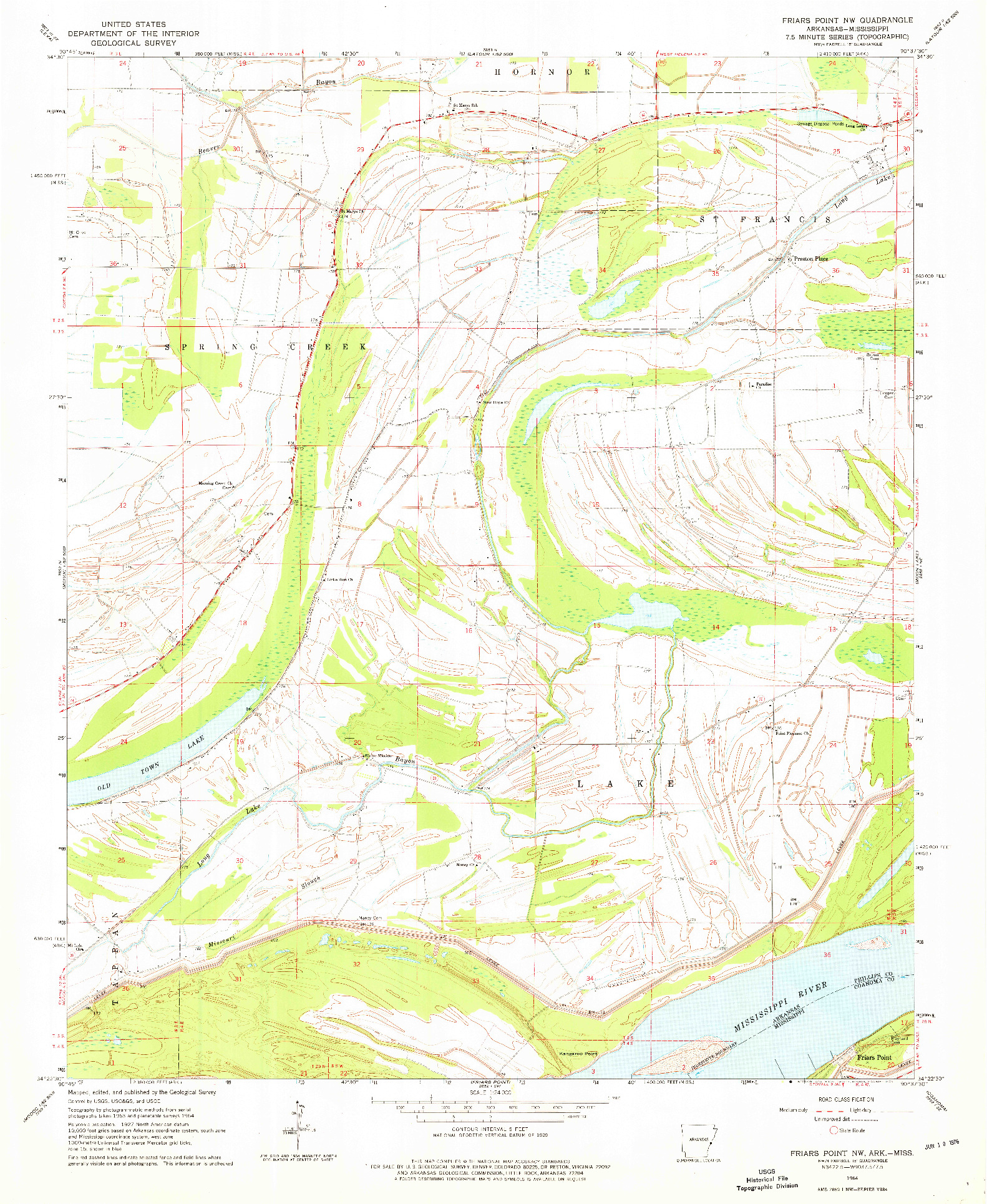 USGS 1:24000-SCALE QUADRANGLE FOR FRIARS POINT NW, AR 1964