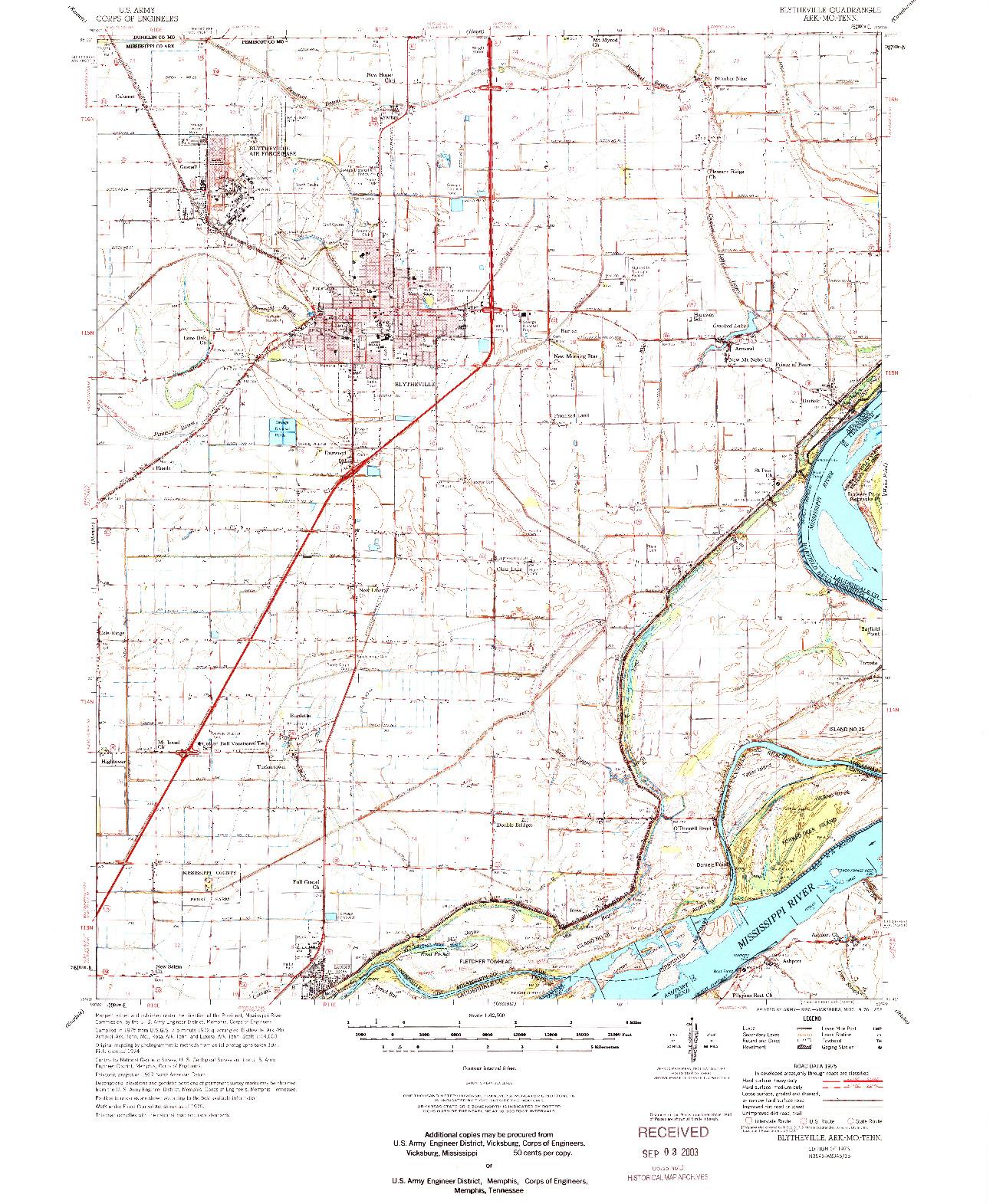 USGS 1:62500-SCALE QUADRANGLE FOR BLYTHEVILLE, AR 1976