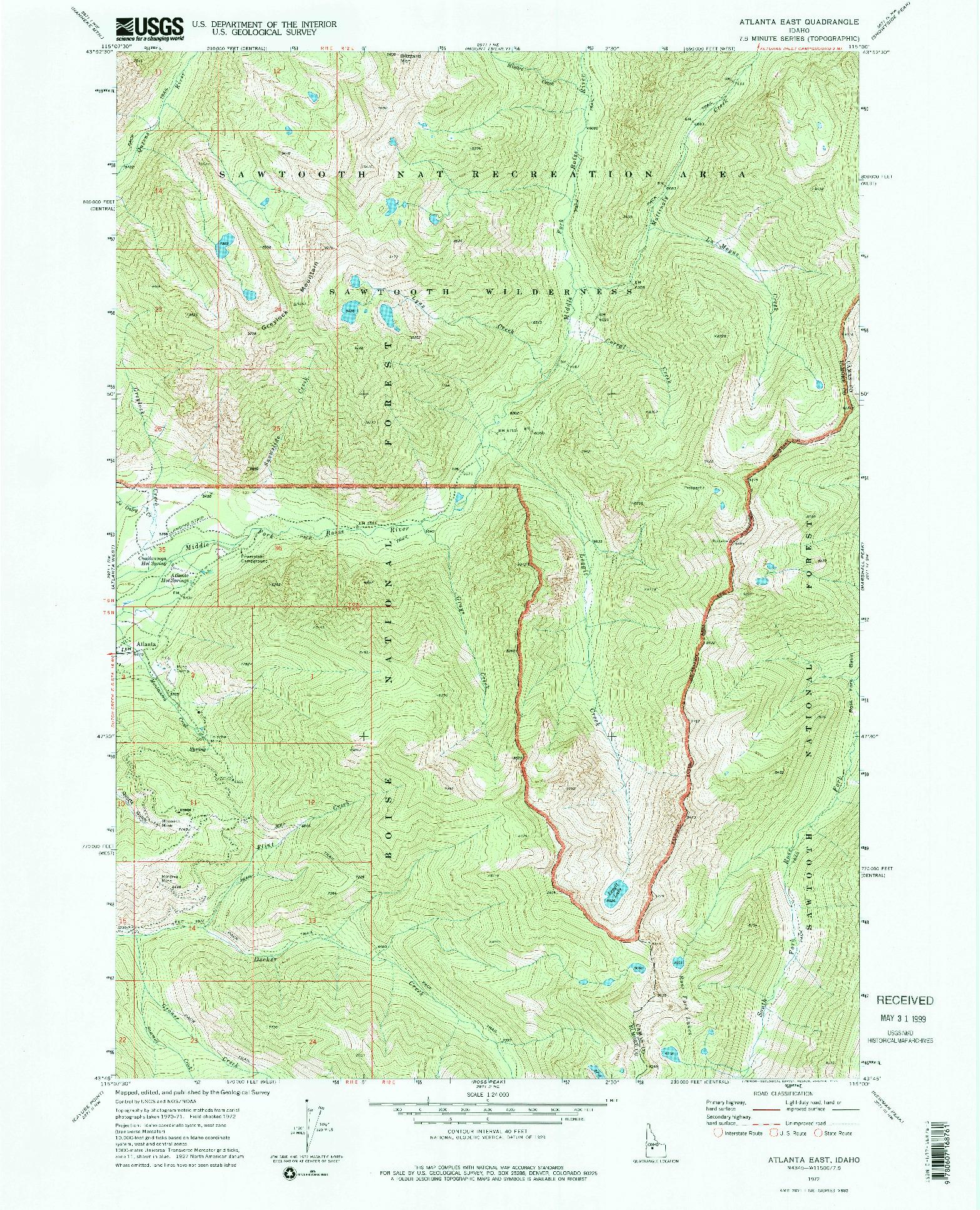 USGS 1:24000-SCALE QUADRANGLE FOR ATLANTA EAST, ID 1972