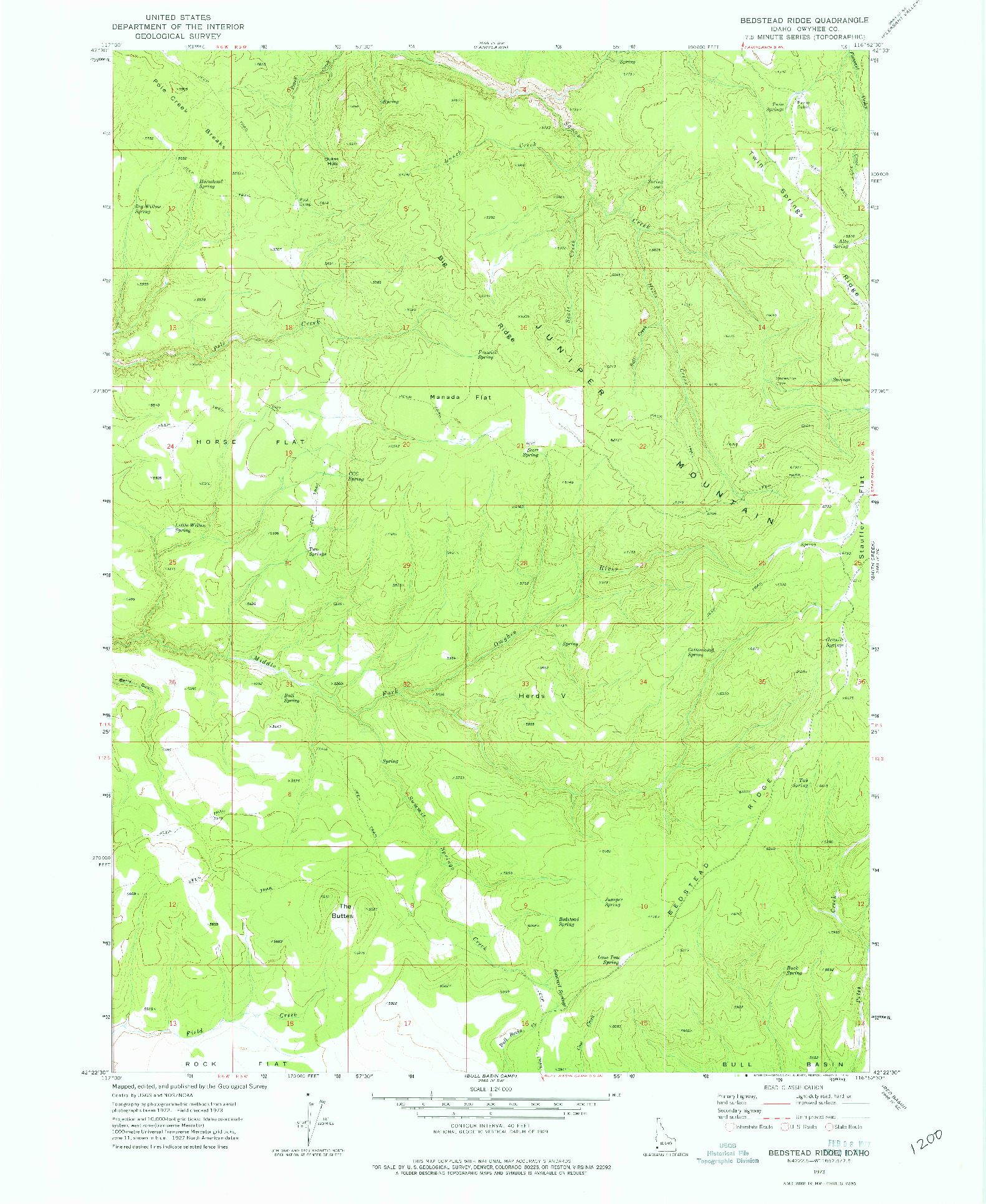 USGS 1:24000-SCALE QUADRANGLE FOR BEDSTEAD RIDGE, ID 1973
