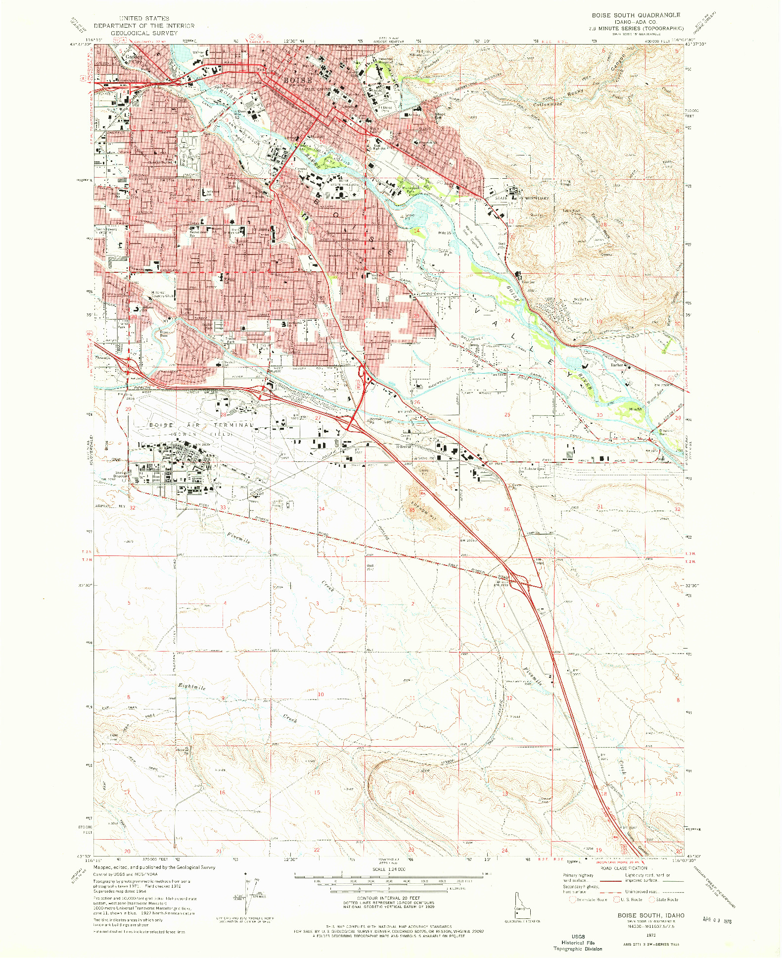 USGS 1:24000-SCALE QUADRANGLE FOR BOISE SOUTH, ID 1972